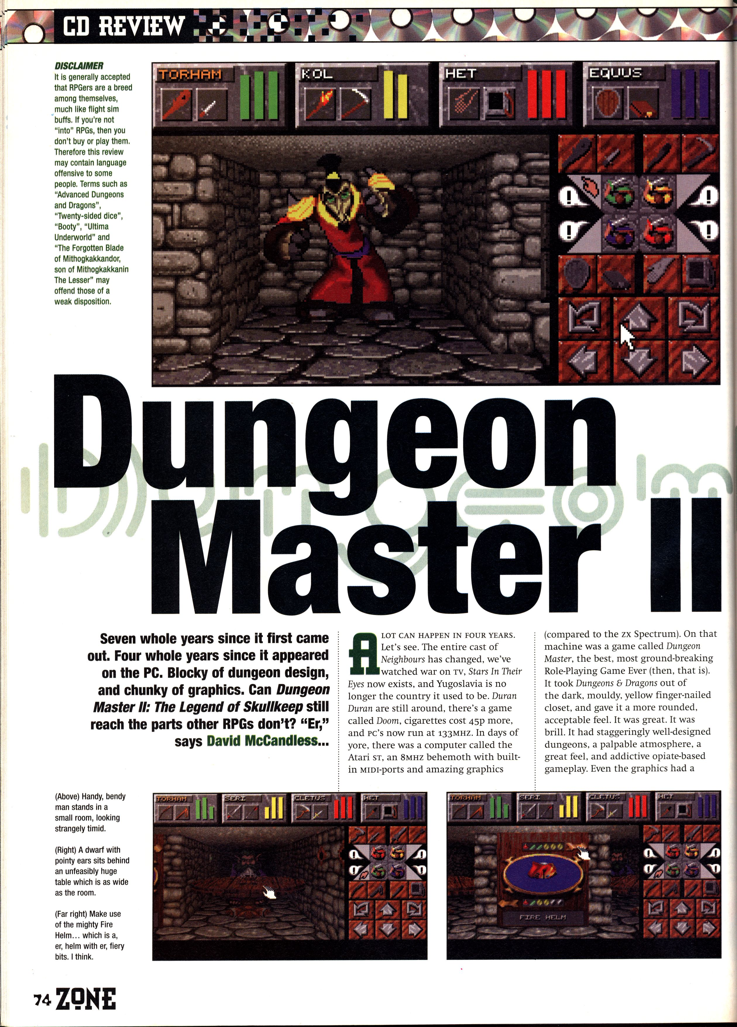 Dungeon Master II for PC Review published in British magazine 'PC Zone', Issue #30 September 1995, Page 74