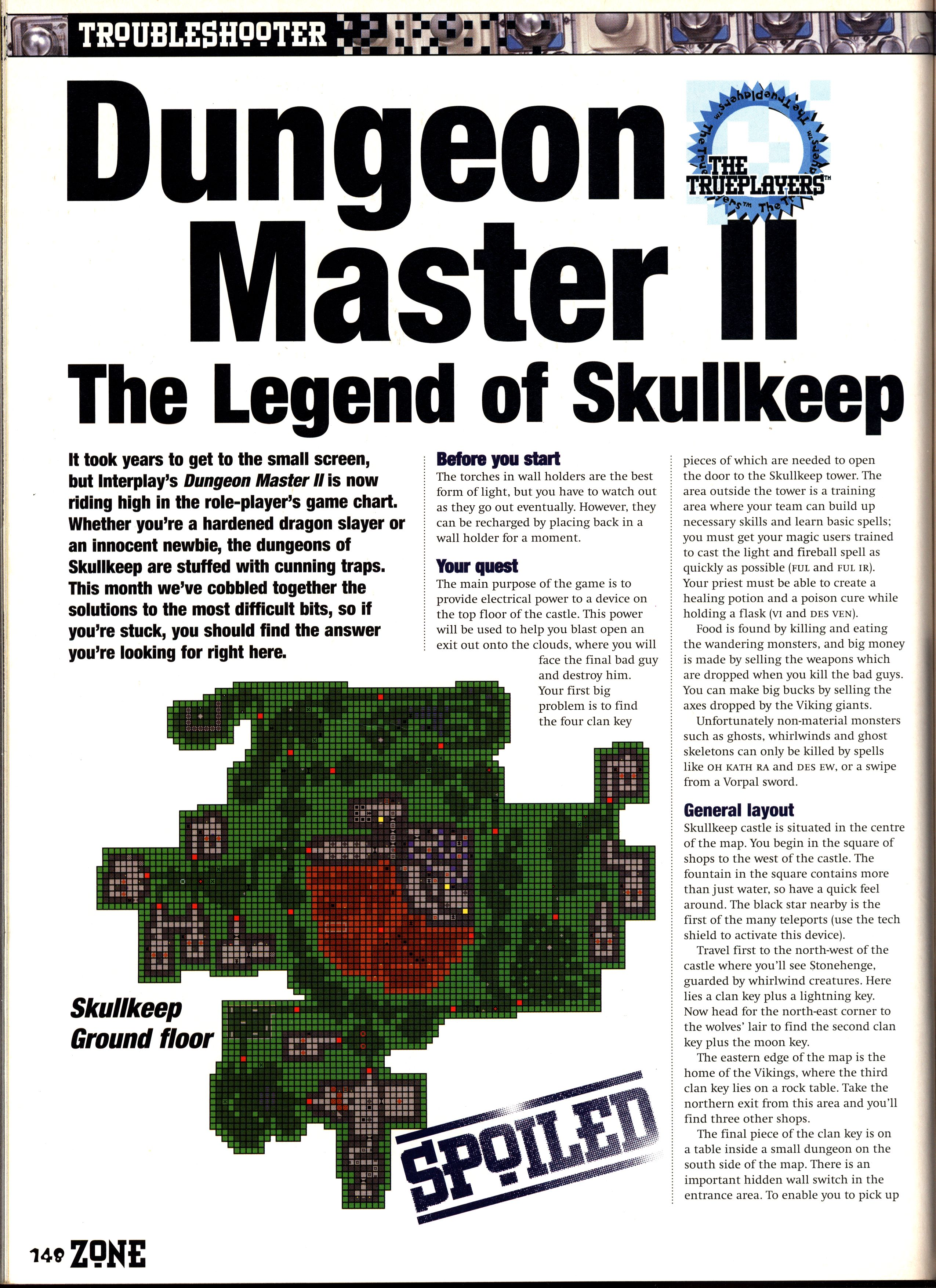Dungeon Master II Guide published in British magazine 'PC Zone', Issue #33 December 1995, Page 148