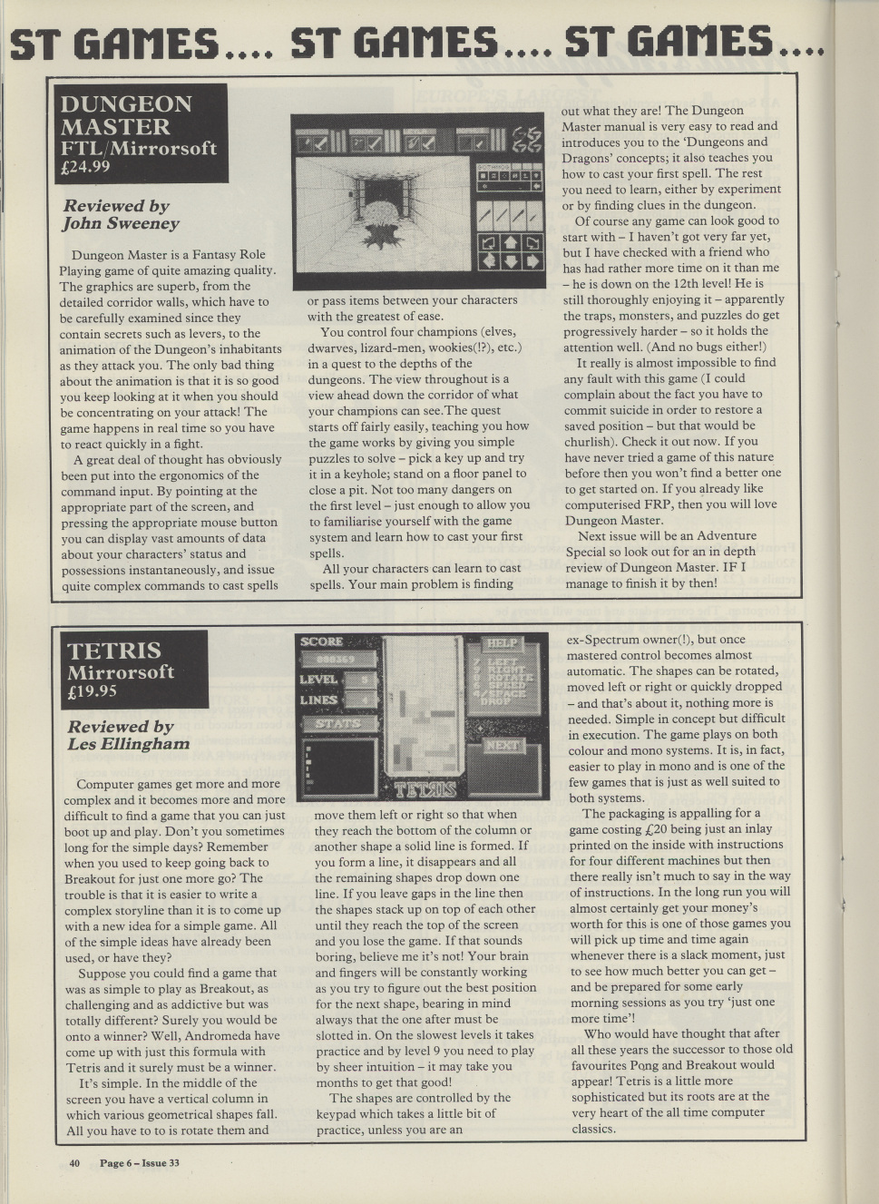 Dungeon Master for Atari ST Review published in British magazine 'Page 6', Issue #33 May-June 1988, Page 40