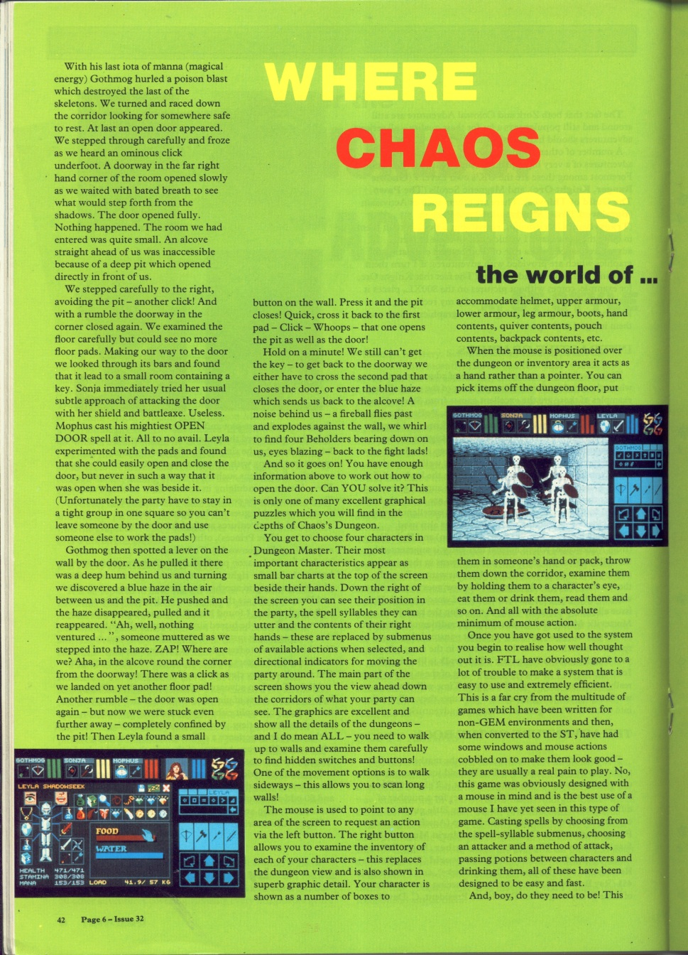 Dungeon Master for Atari ST Review published in British magazine 'Page 6', Issue #34 July-August 1988, Page 42