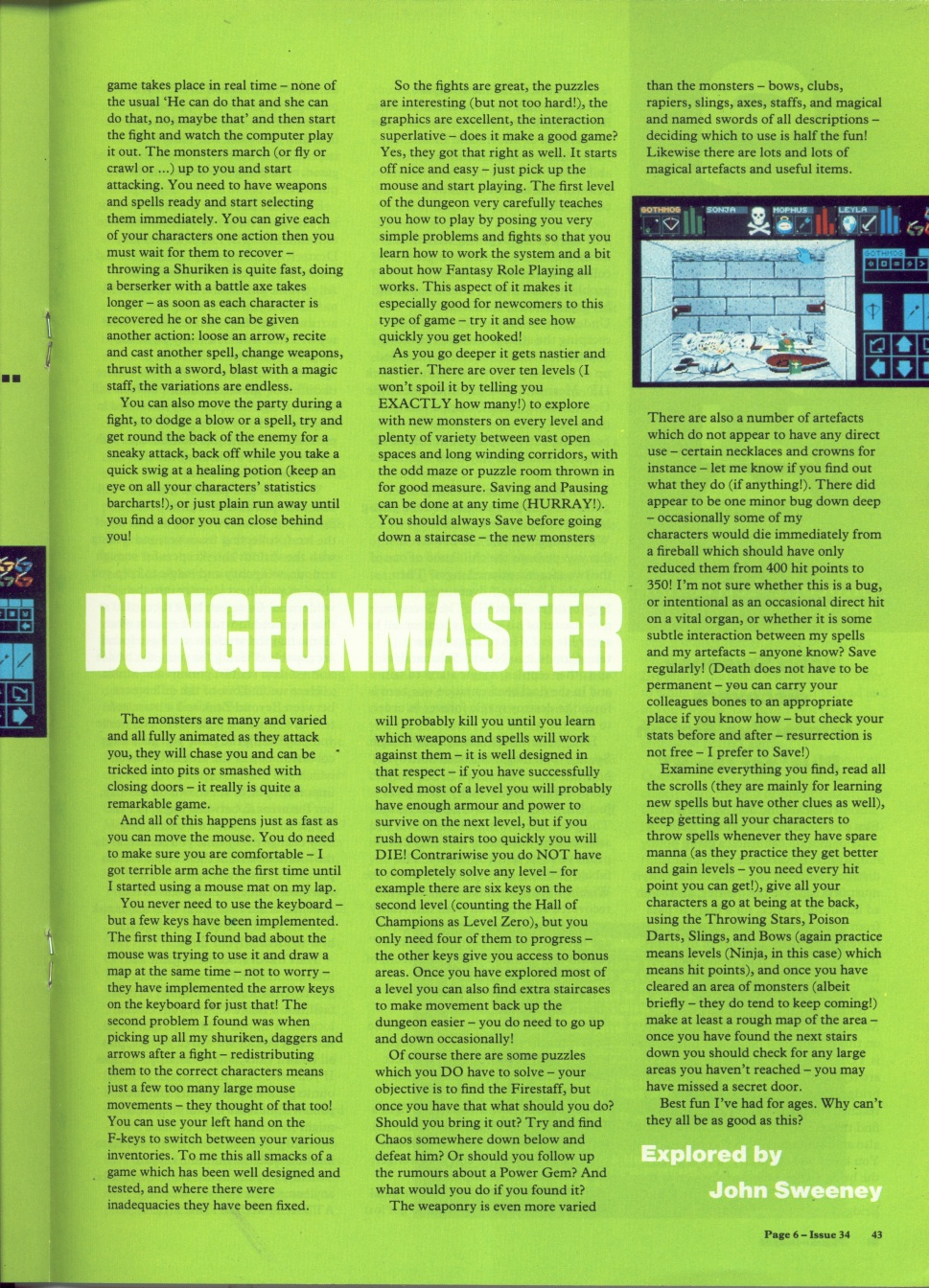 Dungeon Master for Atari ST Review published in British magazine 'Page 6', Issue #34 July-August 1988, Page 43
