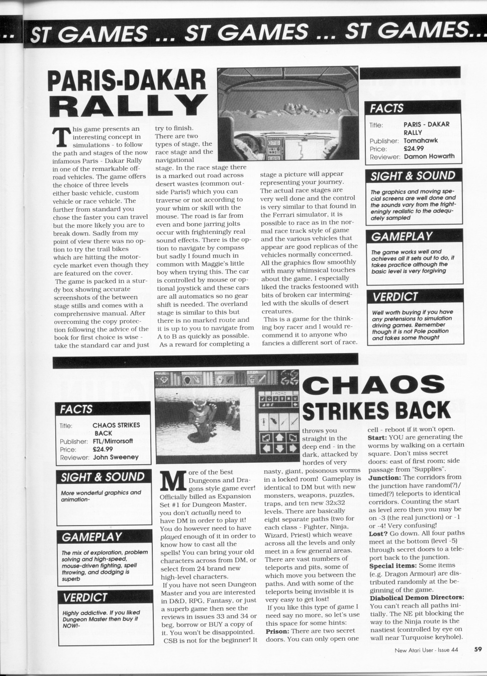 Chaos Strikes Back for Atari ST Review published in British magazine 'Page 6', Issue #44 June-July 1990, Page 59
