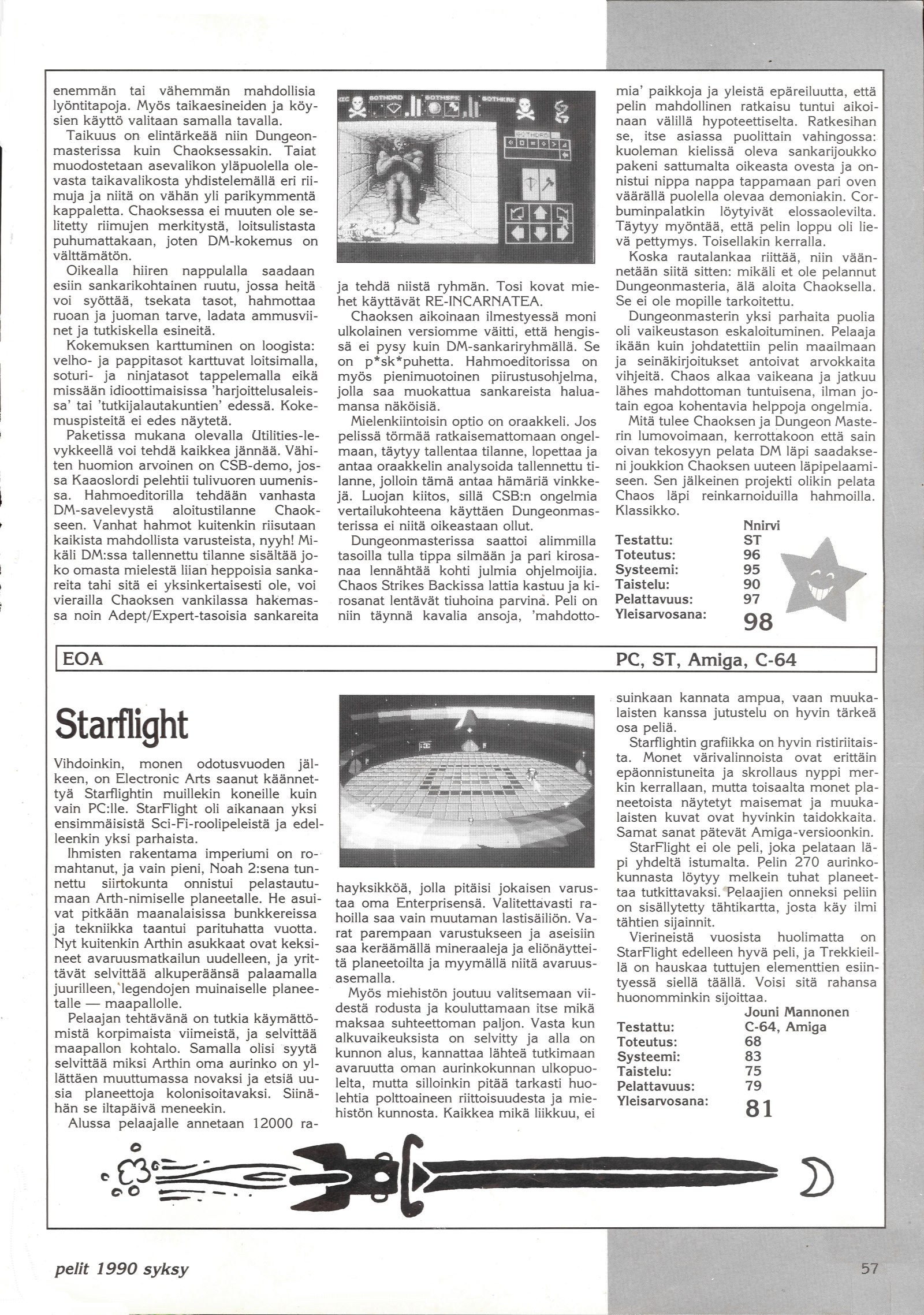 Chaos Strikes Back for Atari ST Review published in Finnish magazine 'Pelit', Issue #6 Autumn 1990, Page 57