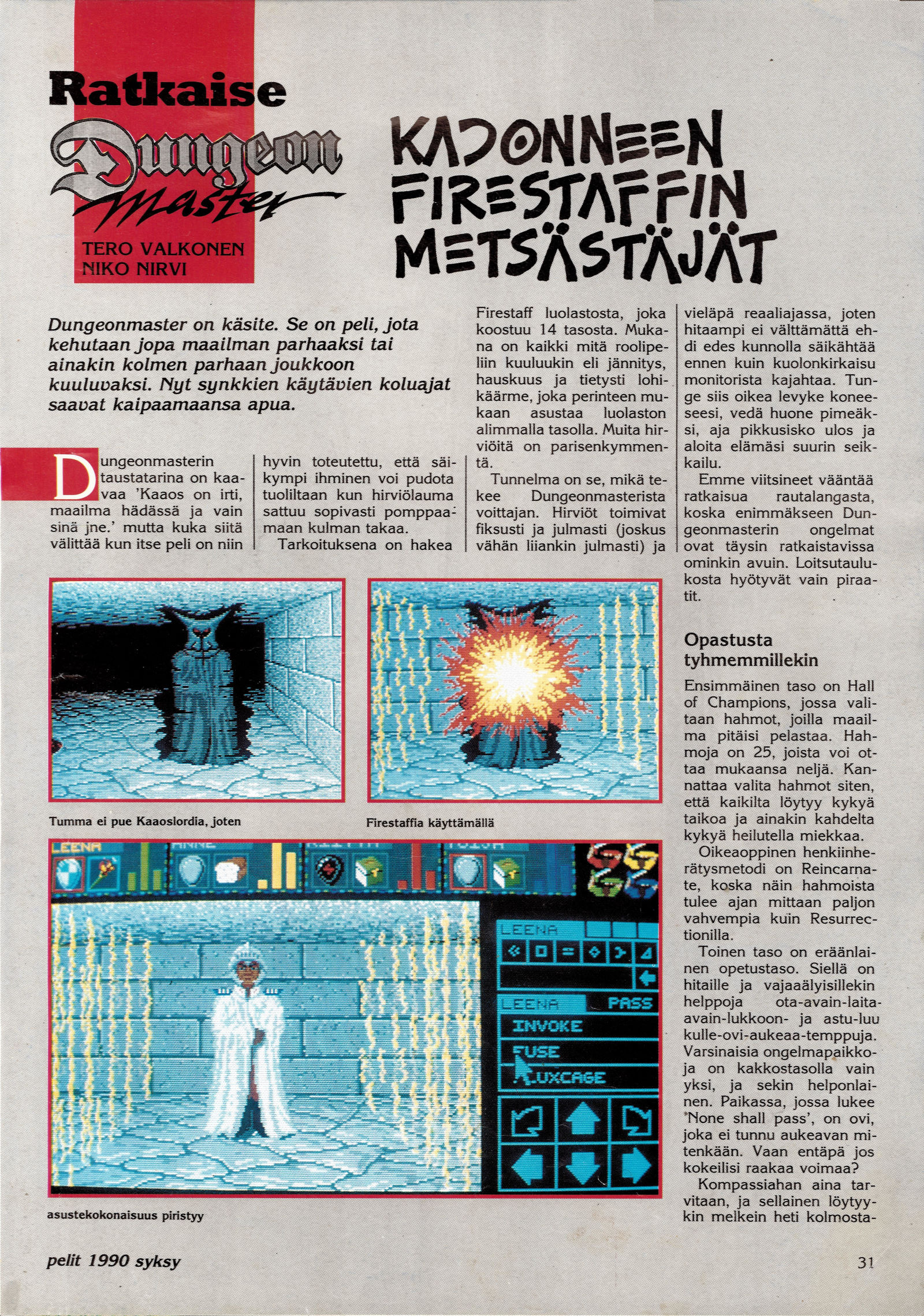 Dungeon Master Hints published in Finnish magazine 'Pelit', Issue #6 Autumn 1990, Page 31