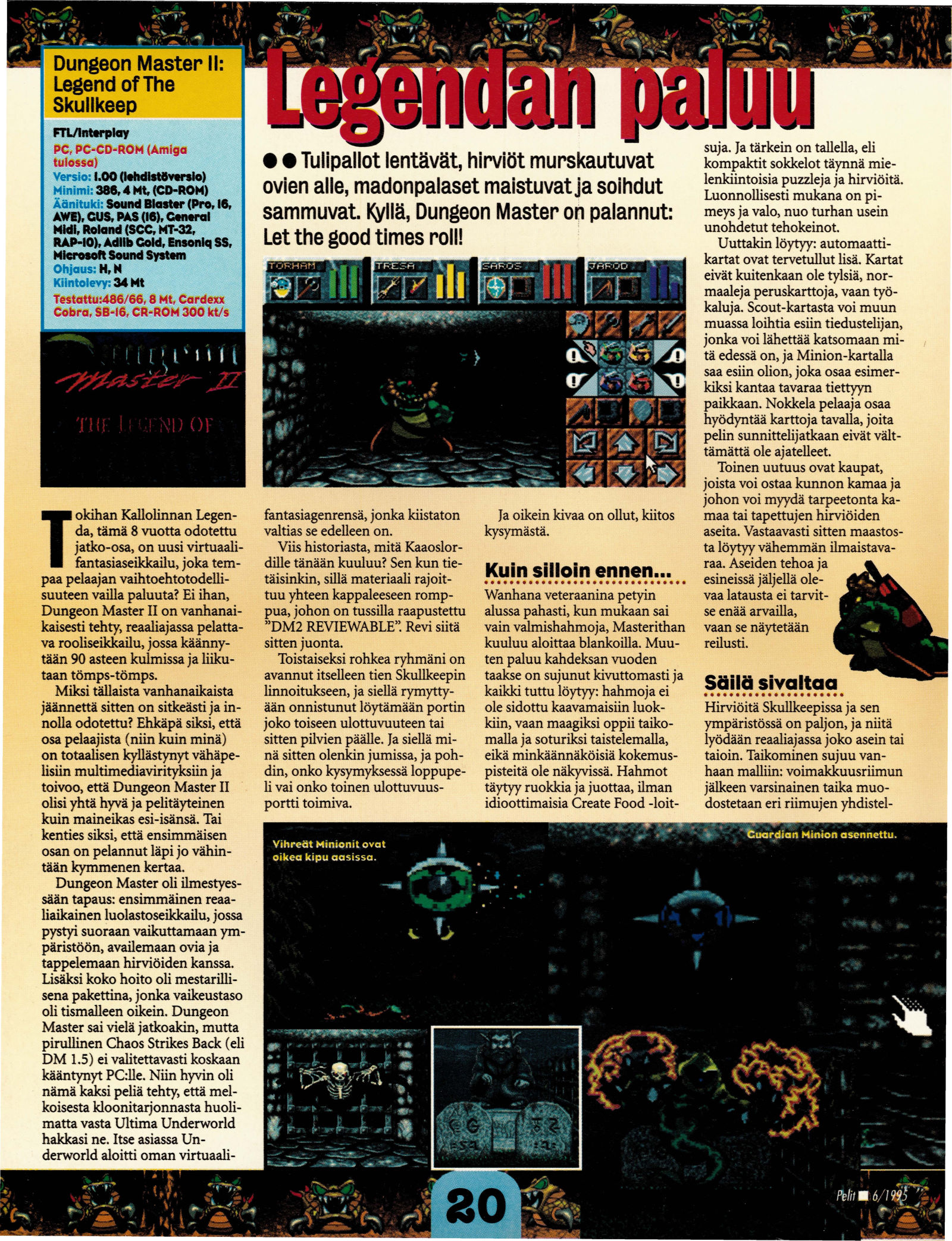 Dungeon Master II for PC Review published in Finnish magazine 'Pelit', June 1995, Page 20