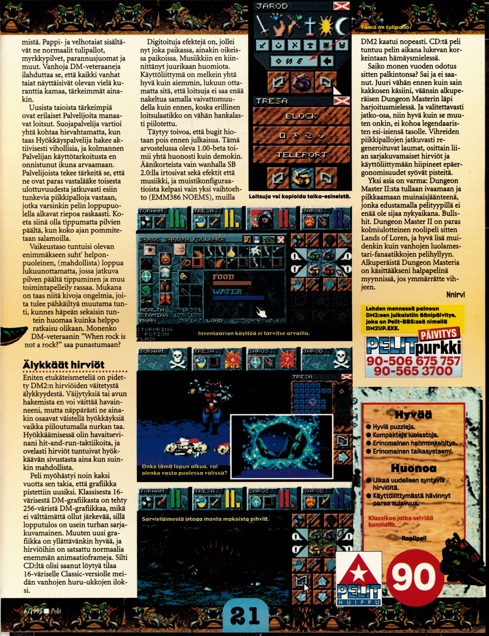 Dungeon Master II for PC Review published in Finnish magazine 'Pelit', June 1995, Page 21