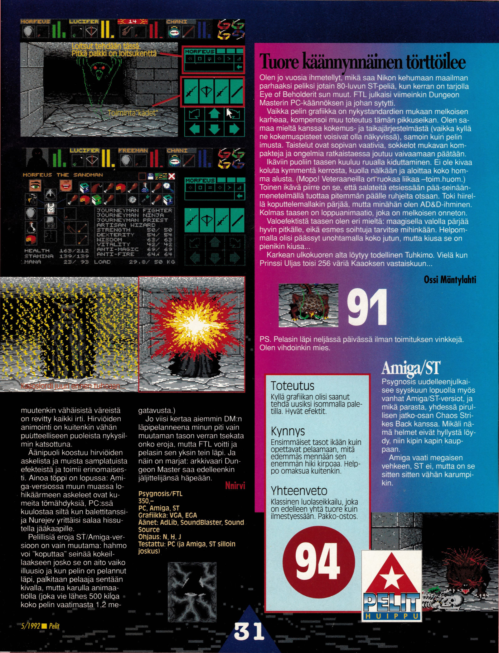 Dungeon Master for PC-Amiga-Atari ST Review published in Finnish magazine 'Pelit', May 1992, Page 31