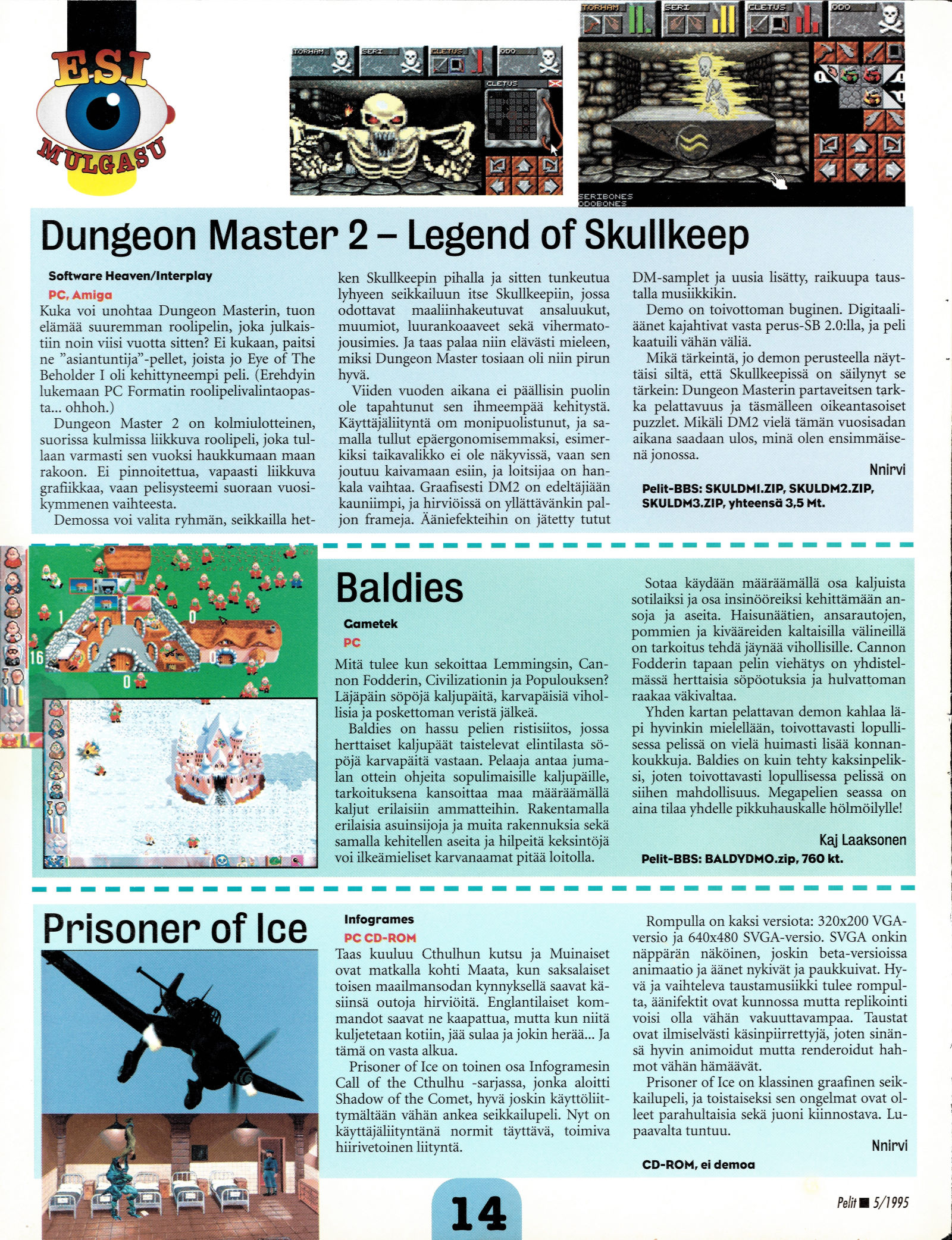 Dungeon Master II for PC-Amiga Preview published in Finnish magazine 'Pelit', May 1995, Page 14