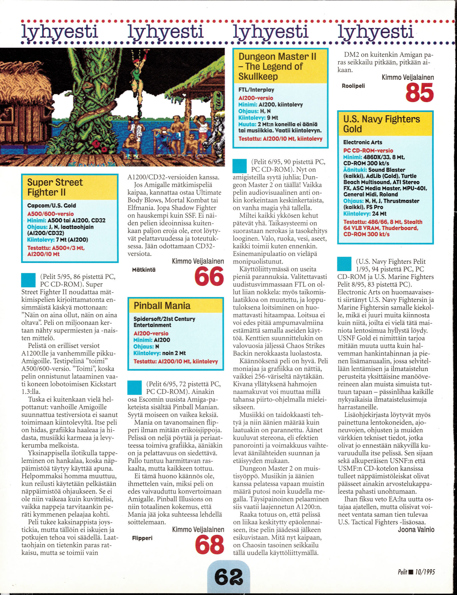 Dungeon Master II for Amiga Review published in Finnish magazine 'Pelit', October 1995, Page 62