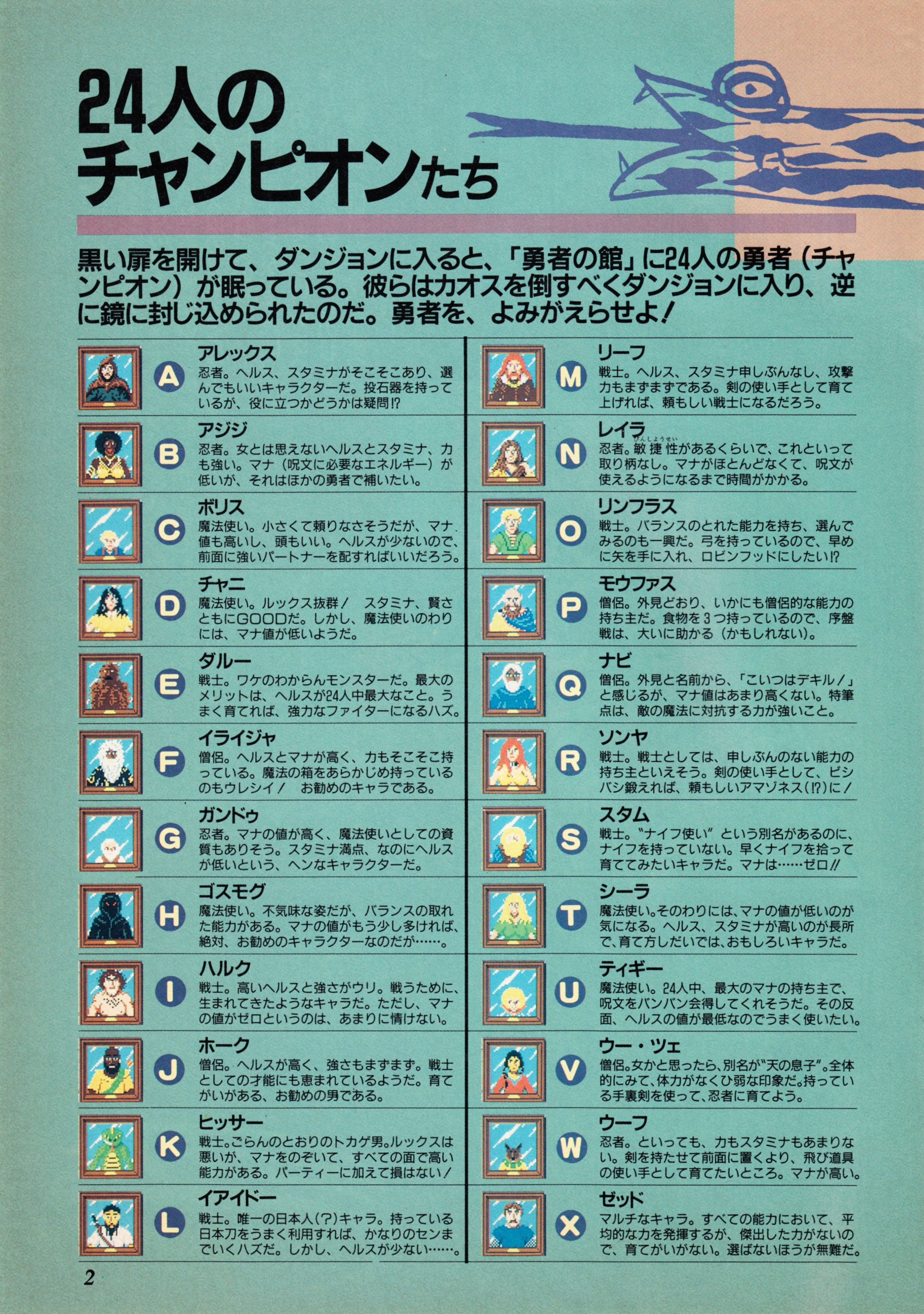 Supplement - Dungeon Master Companion Manual Guide published in Japanese magazine 'Popcom', Vol 4 No 1 01 April 1990, Page 4
