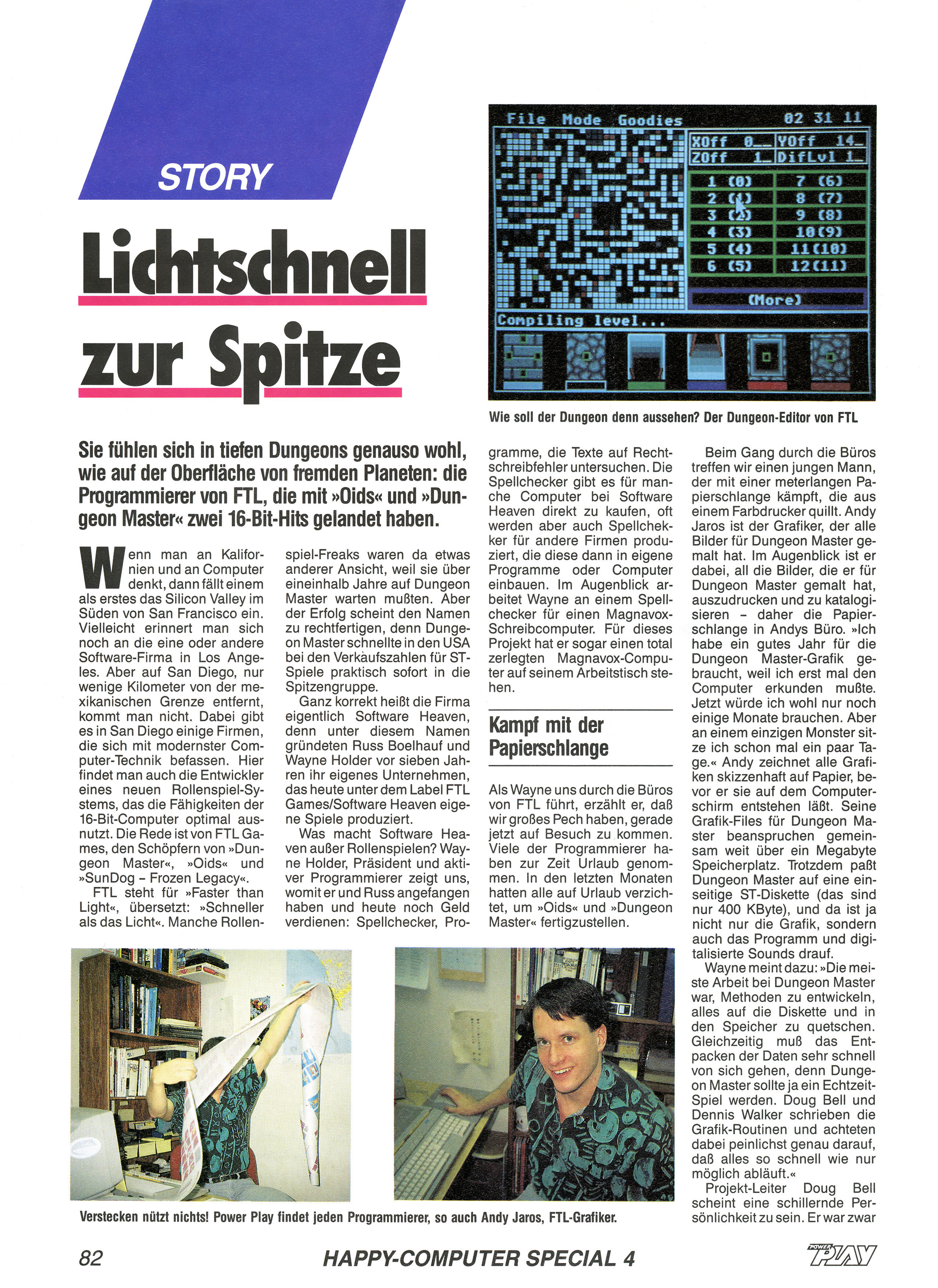 FTL Article published in German magazine 'Power Play', April 1988, Page 82