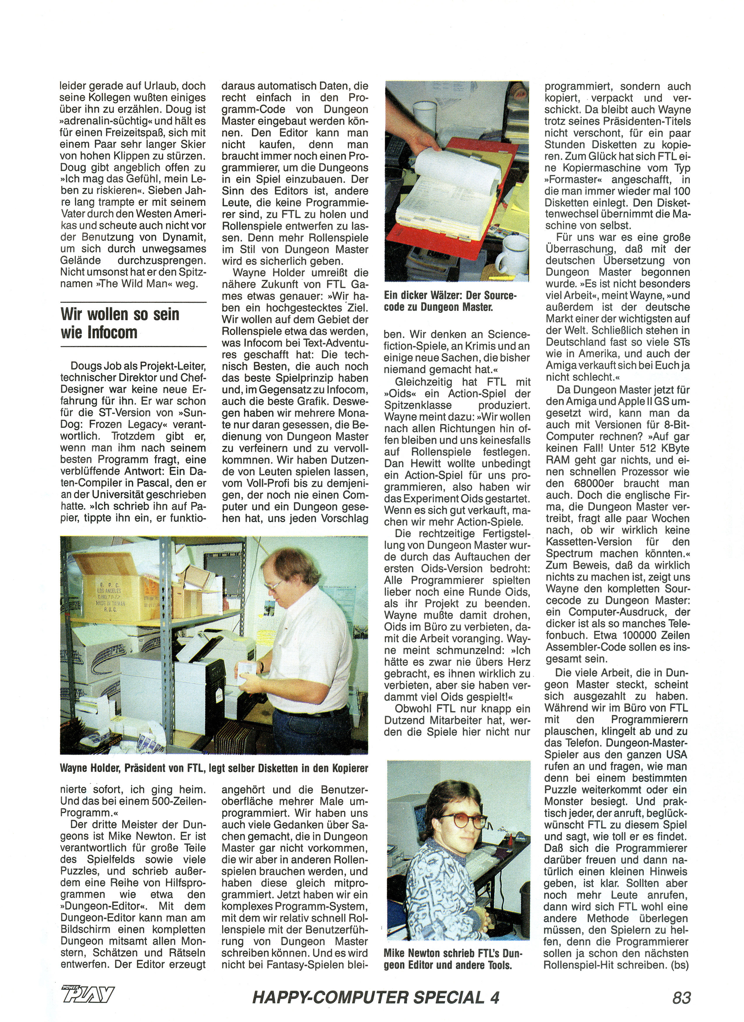 FTL Article published in German magazine 'Power Play', April 1988, Page 83