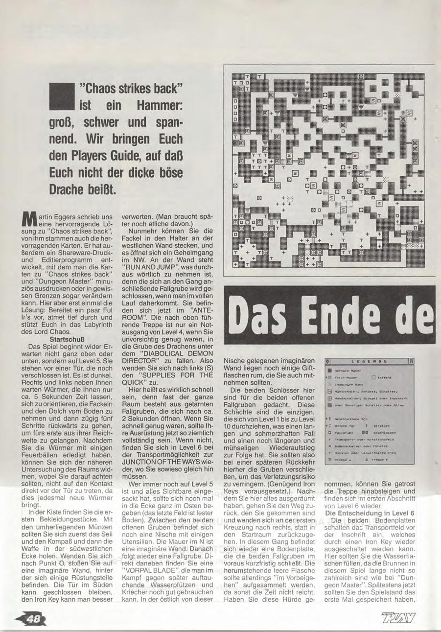 Chaos Strikes Back Guide published in German magazine 'Power Play', April 1990, Page 48