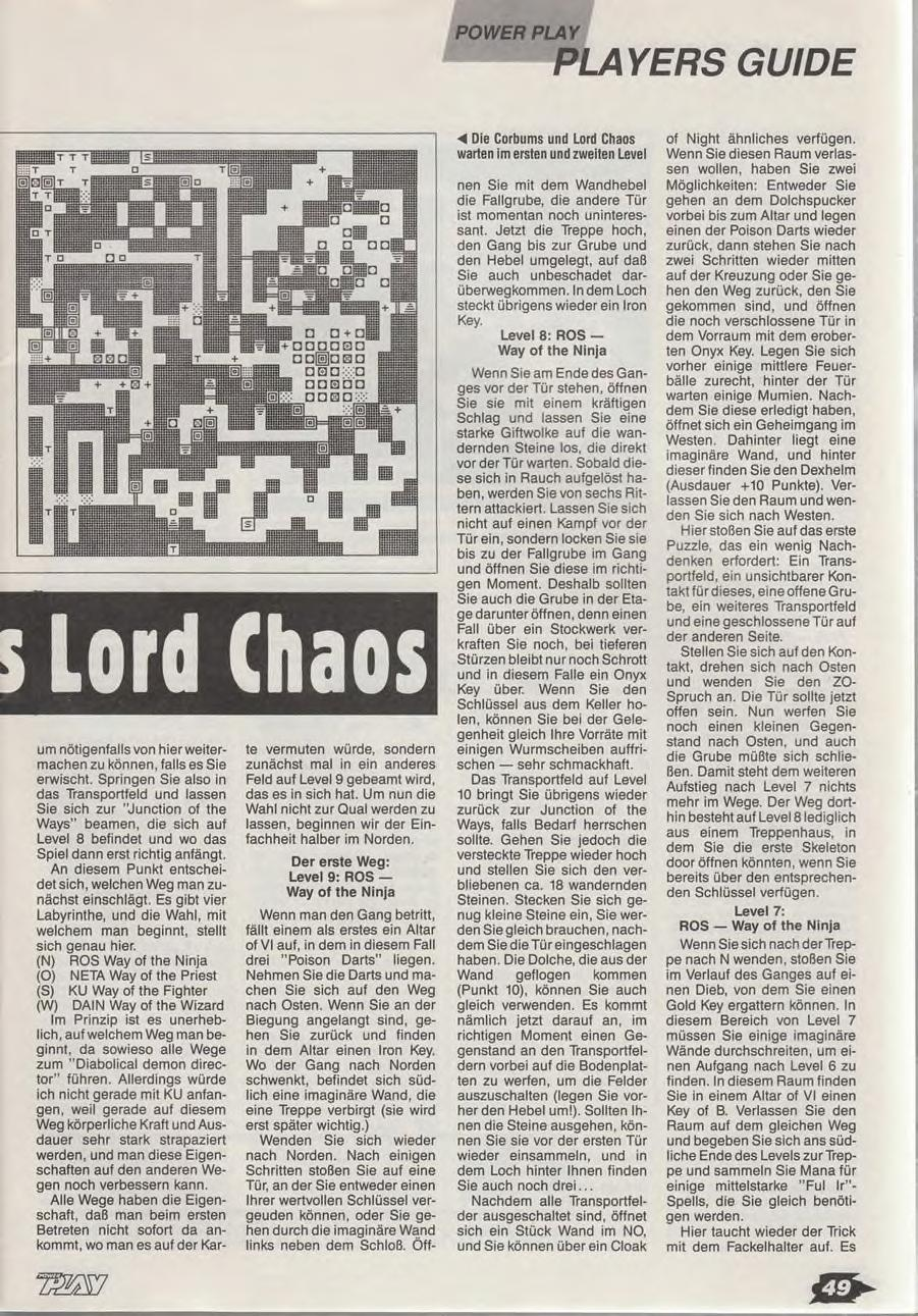 Chaos Strikes Back Guide published in German magazine 'Power Play', April 1990, Page 49