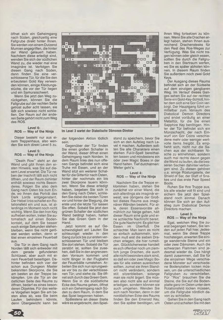 Chaos Strikes Back Guide published in German magazine 'Power Play', April 1990, Page 50