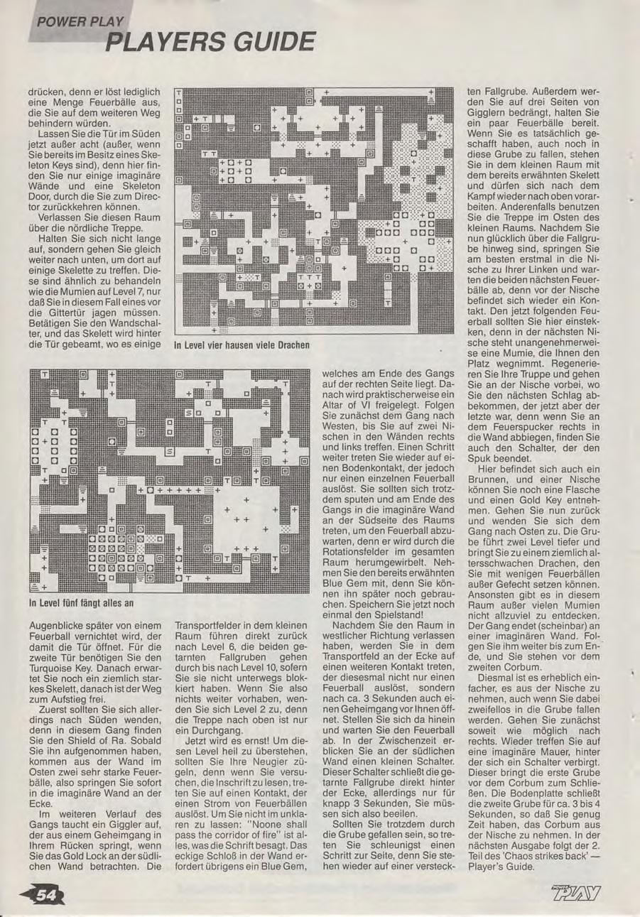 Chaos Strikes Back Guide published in German magazine 'Power Play', April 1990, Page 54