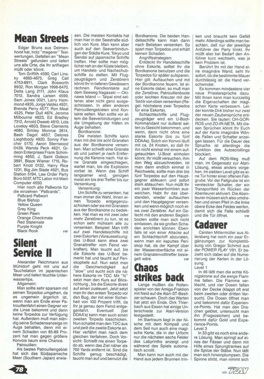 Chaos Strikes Back Hints published in German magazine 'Power Play', April 1991, Page 78