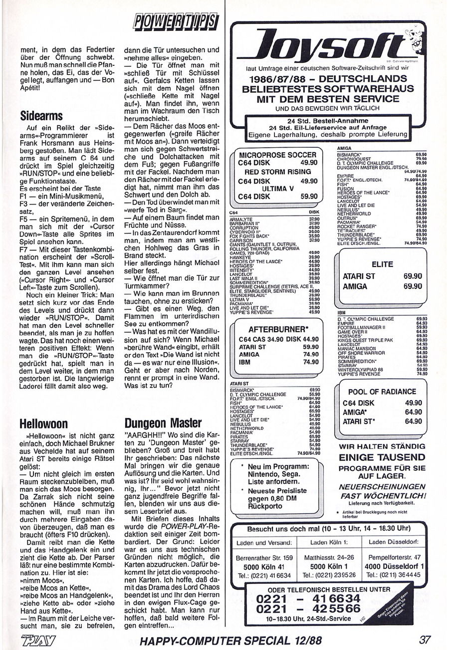 Dungeon Master Hints published in German magazine 'Power Play', December 1988, Page 37