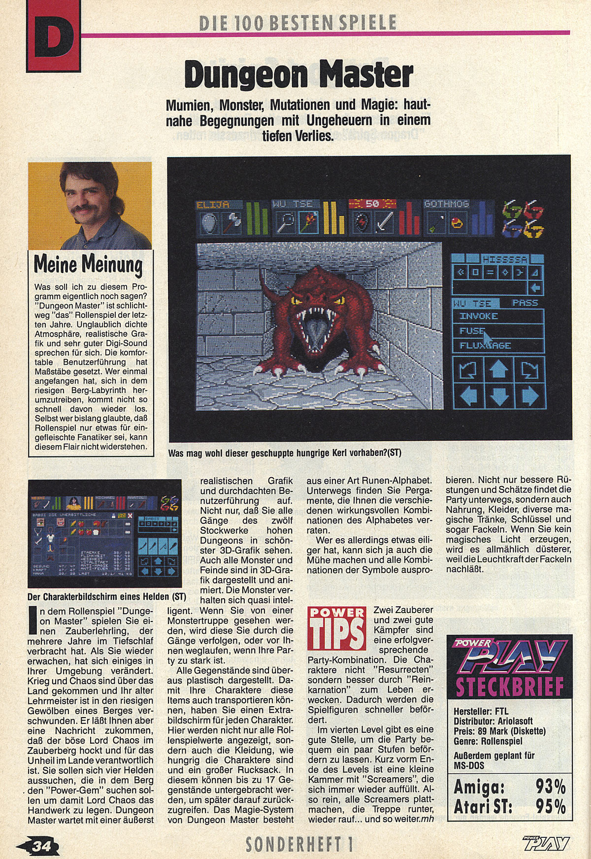 Dungeon Master Review published in German magazine 'Power Play', Die 100 Besten Spiele 1989, Page 34