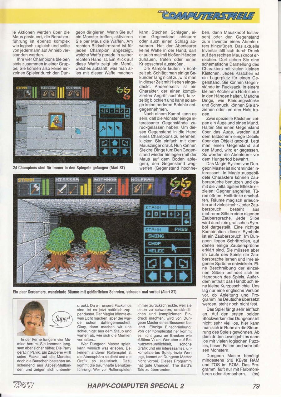 Dungeon Master for Atari ST Review published in German magazine 'Power Play', February 1988, Page 79