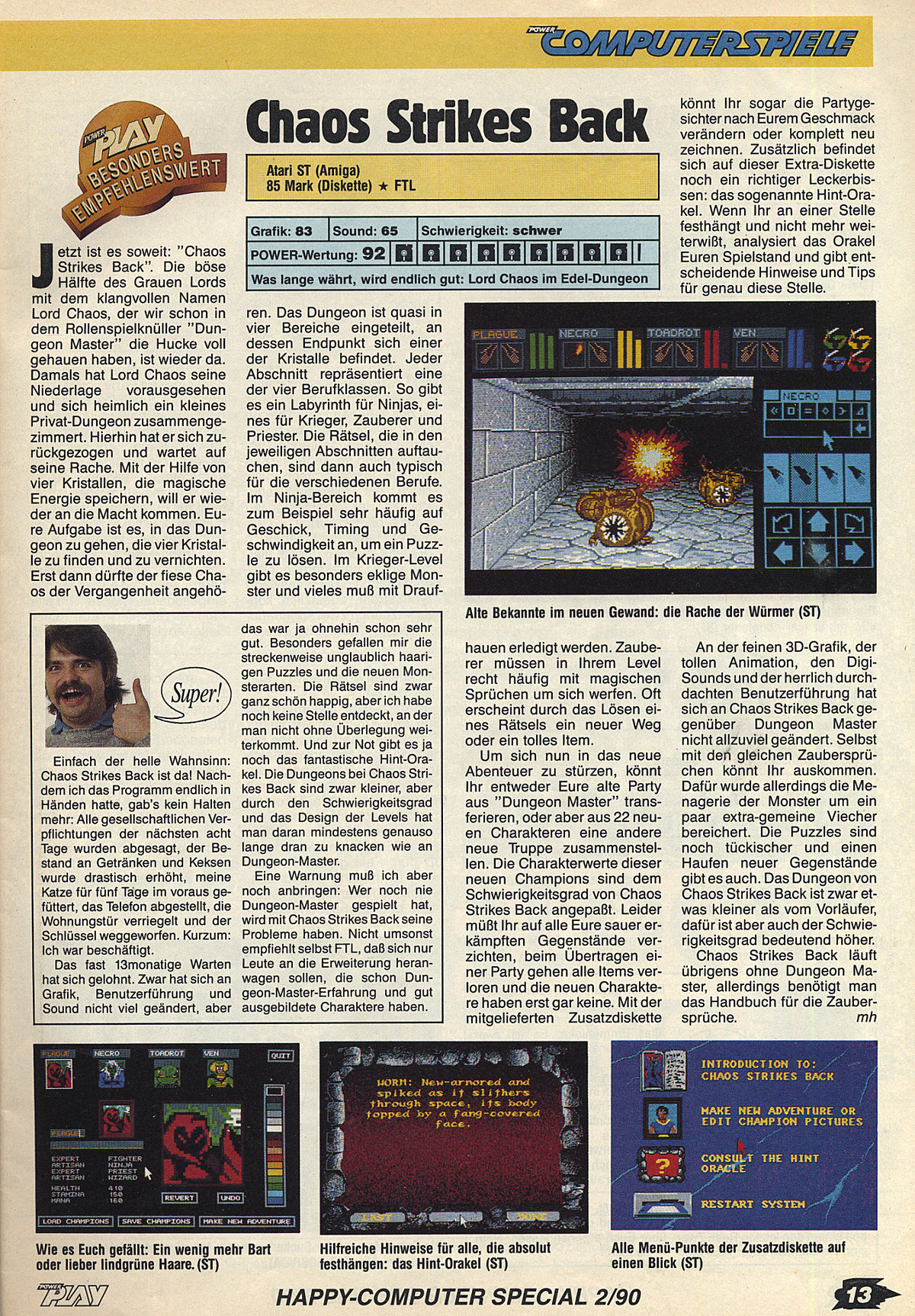 Chaos Strikes Back for Atari ST Review published in German magazine 'Power Play', February 1990, Page 13