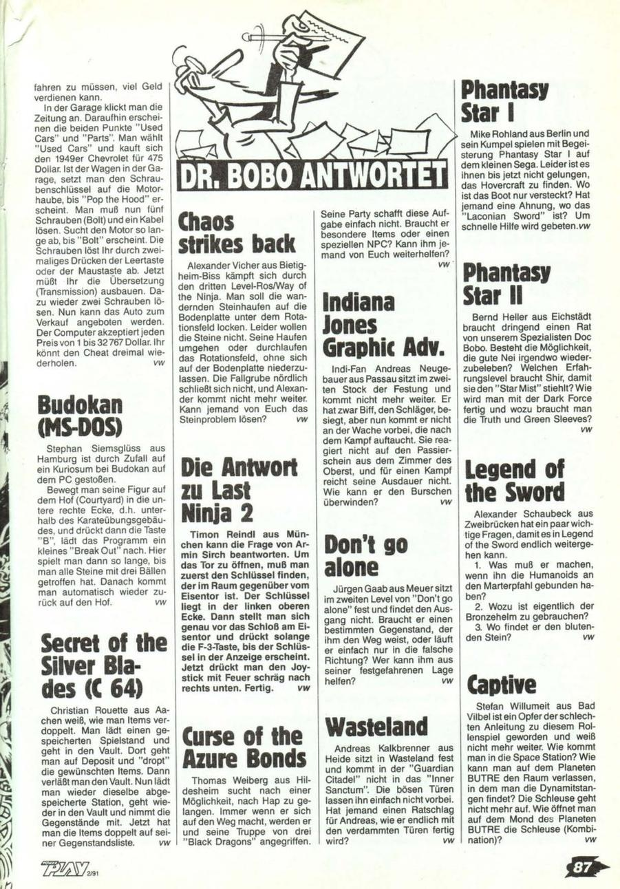 Chaos Strikes Back Hints published in German magazine 'Power Play', February 1991, Page 87