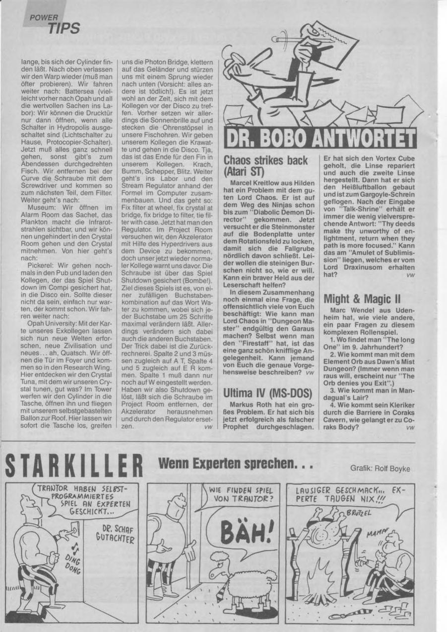 Chaos Strikes Back Hints published in German magazine 'Power Play', January 1991, Page 102