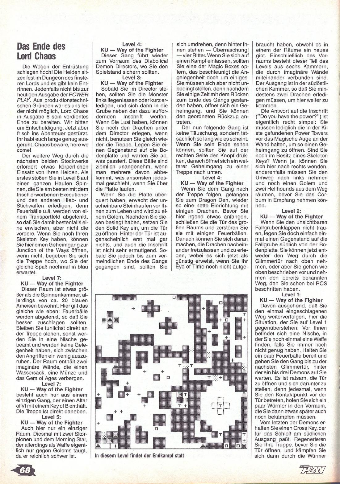 Chaos Strikes Back Guide published in German magazine 'Power Play', July 1990, Page 68