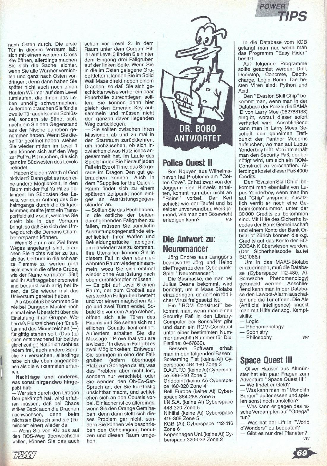 Chaos Strikes Back Guide published in German magazine 'Power Play', July 1990, Page 69