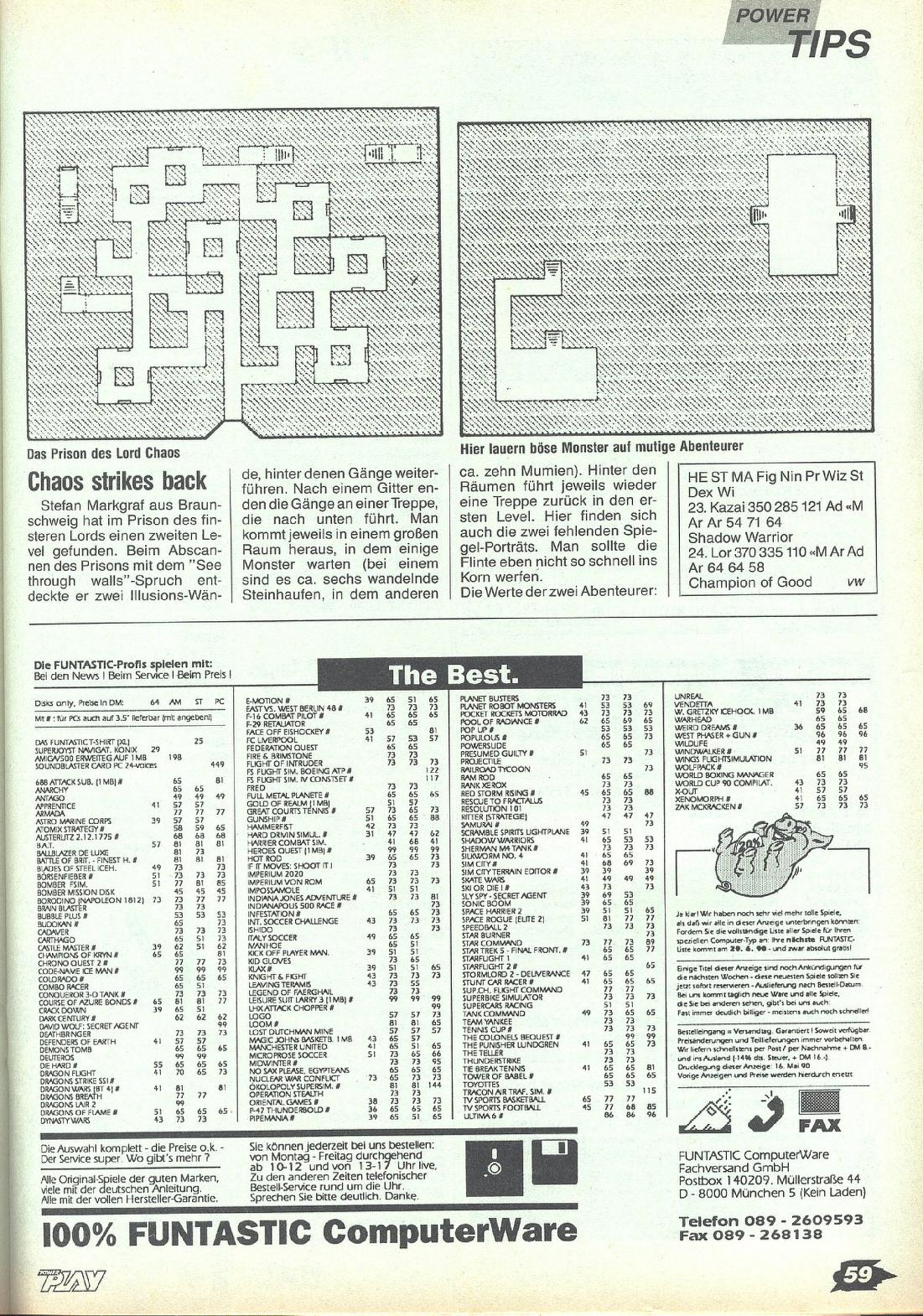 Chaos Strikes Back Hints published in German magazine 'Power Play', July 1990, Page 59