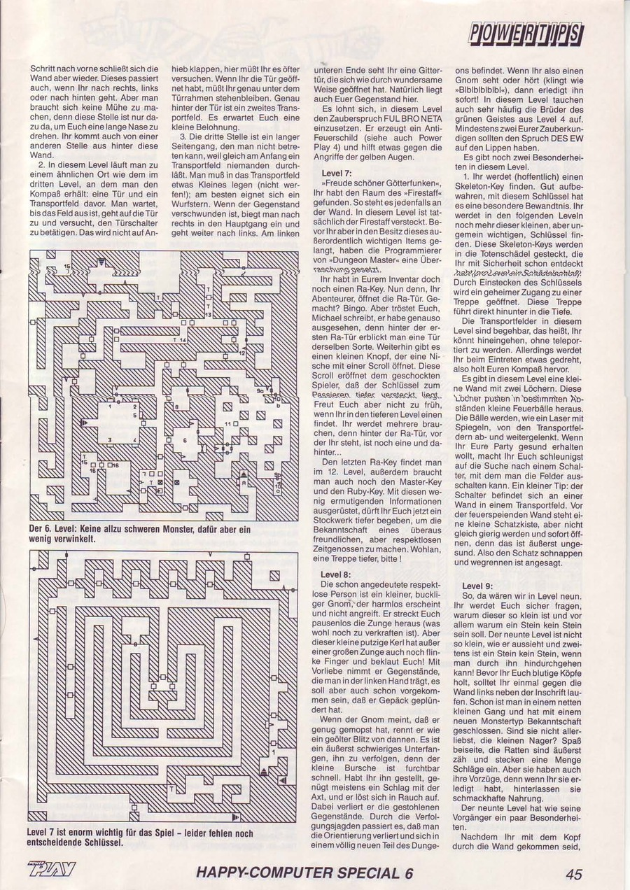 Dungeon Master Guide published in German magazine 'Power Play', June 1988, Page 45
