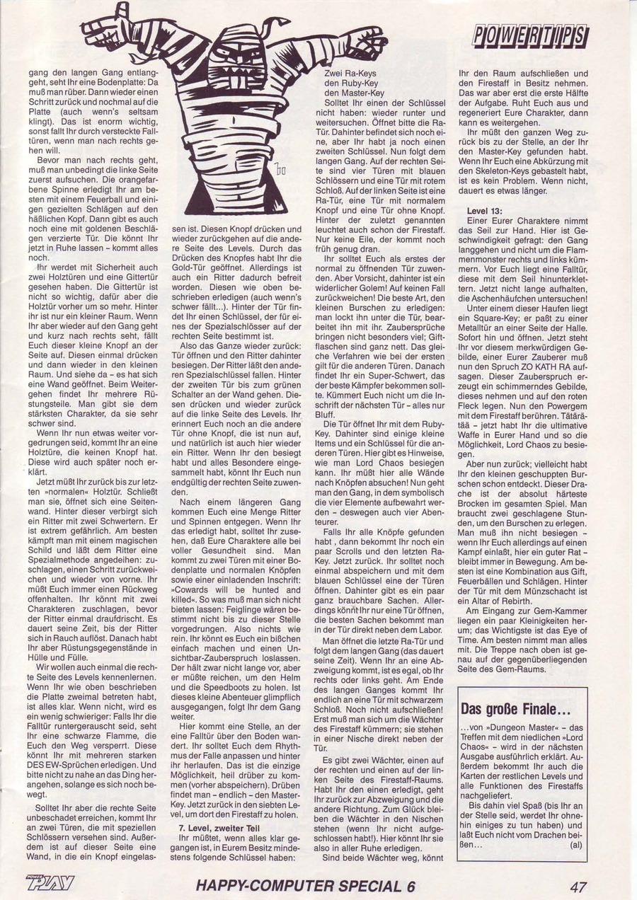 Dungeon Master Guide published in German magazine 'Power Play', June 1988, Page 47