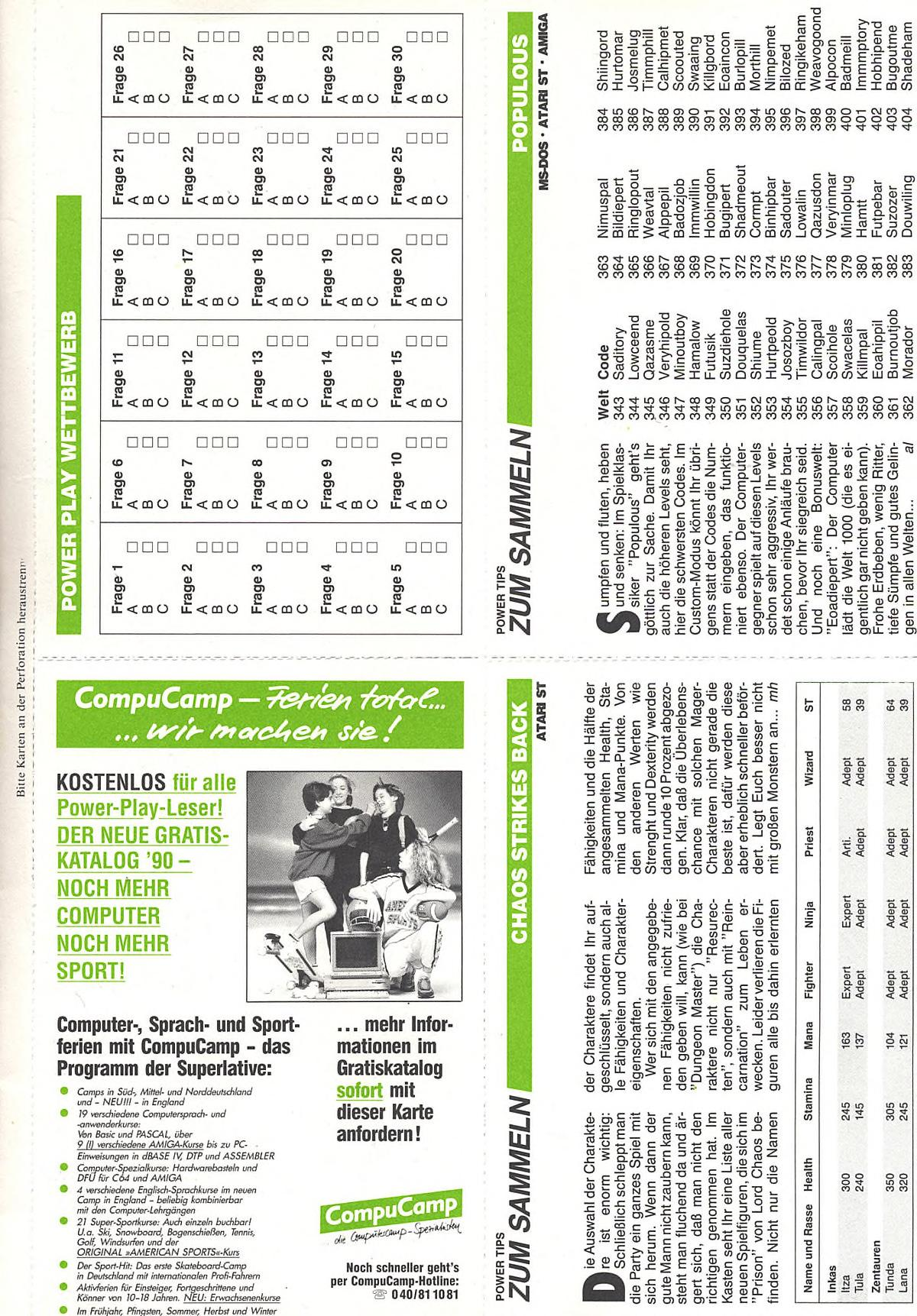 Chaos Strikes Back Hints published in German magazine 'Power Play', March 1990, Page 35