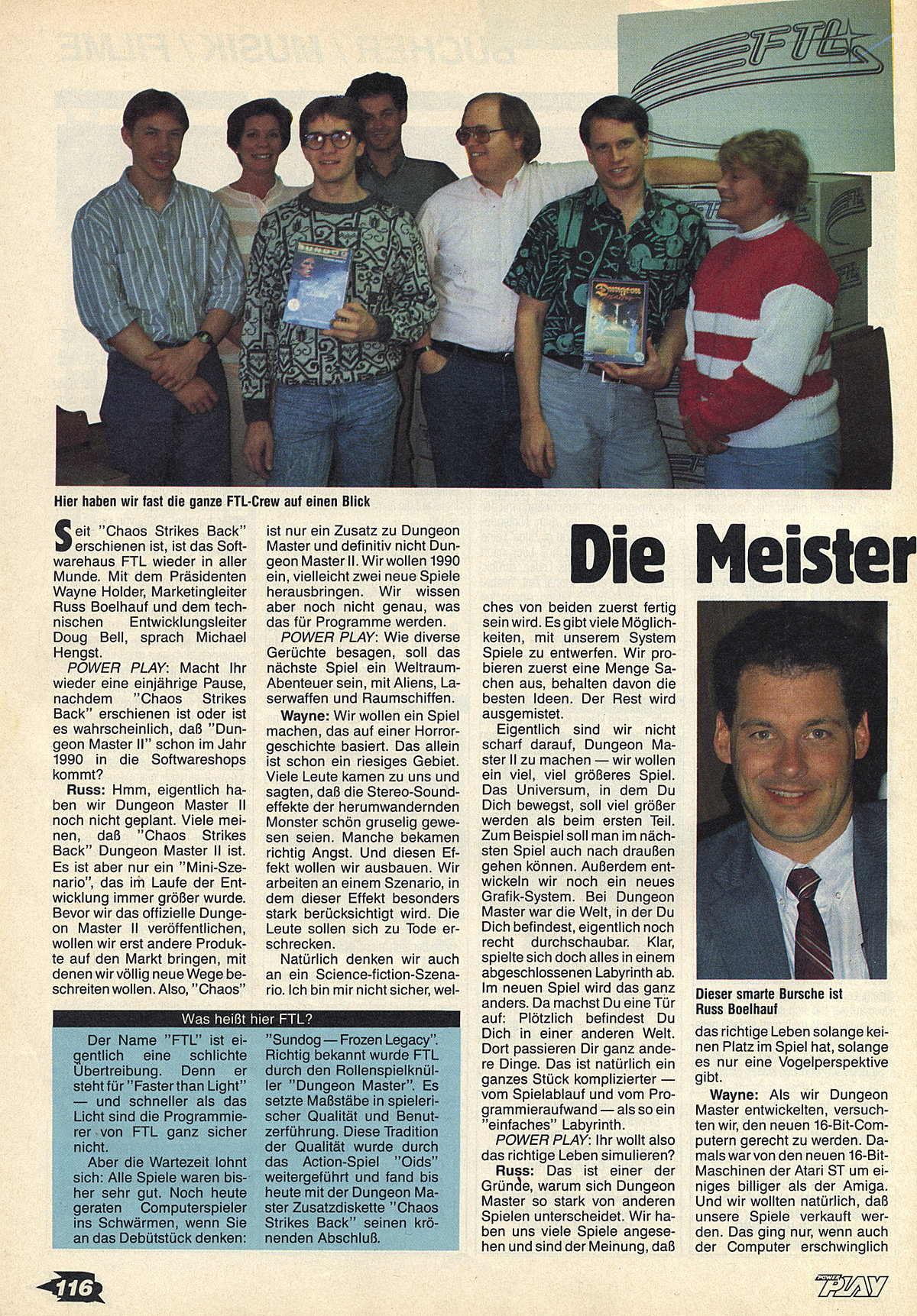 FTL Article published in German magazine 'Power Play', March 1990, Page 116