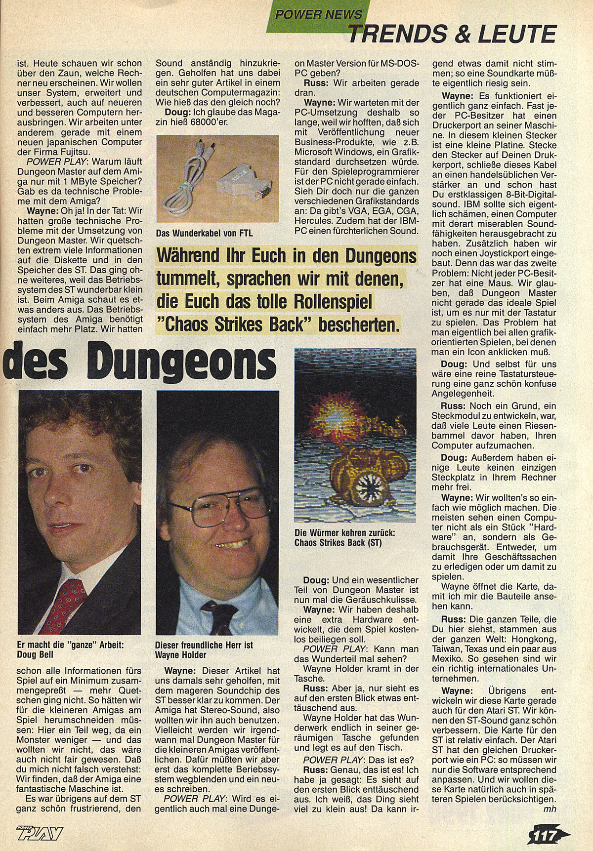 FTL Article published in German magazine 'Power Play', March 1990, Page 117