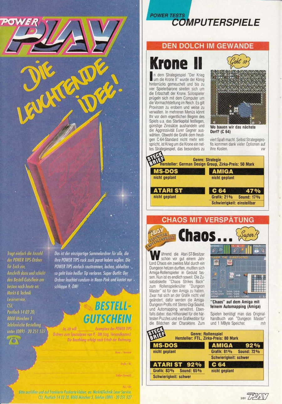 Chaos Strikes Back for Amiga Review published in German magazine 'Power Play', March 1991, Page 126