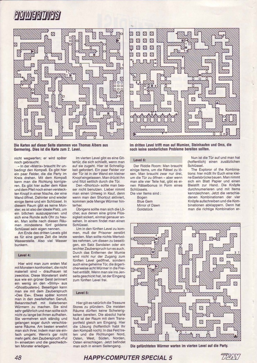 Dungeon Master Guide published in German magazine 'Power Play', May 1988, Page 48