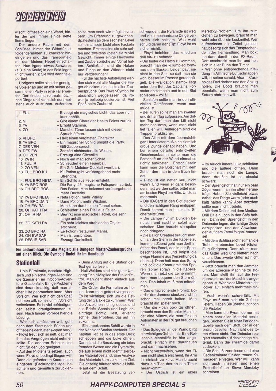 Dungeon Master Guide published in German magazine 'Power Play', May 1988, Page 50