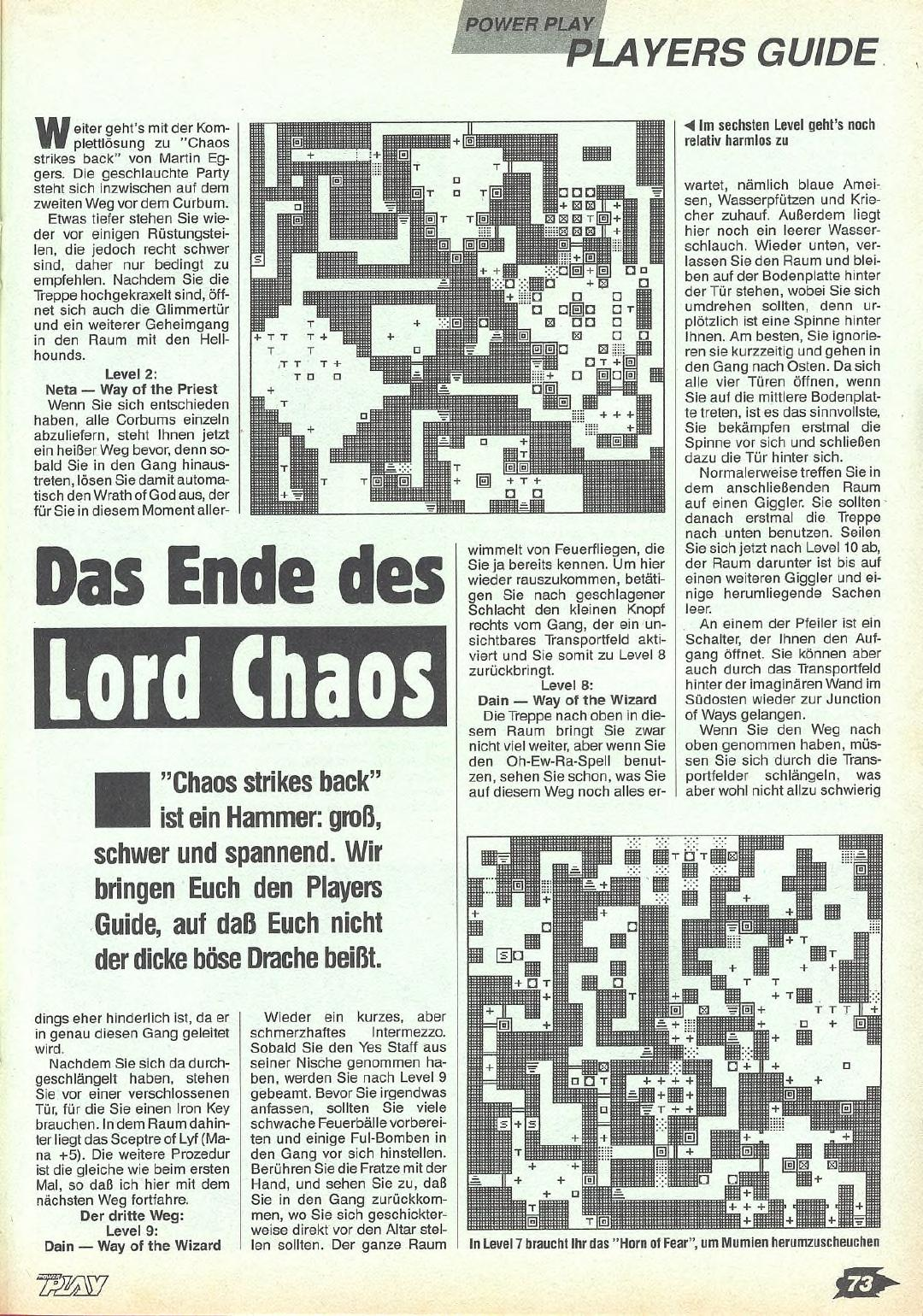 Chaos Strikes Back Guide published in German magazine 'Power Play', May 1990, Page 73