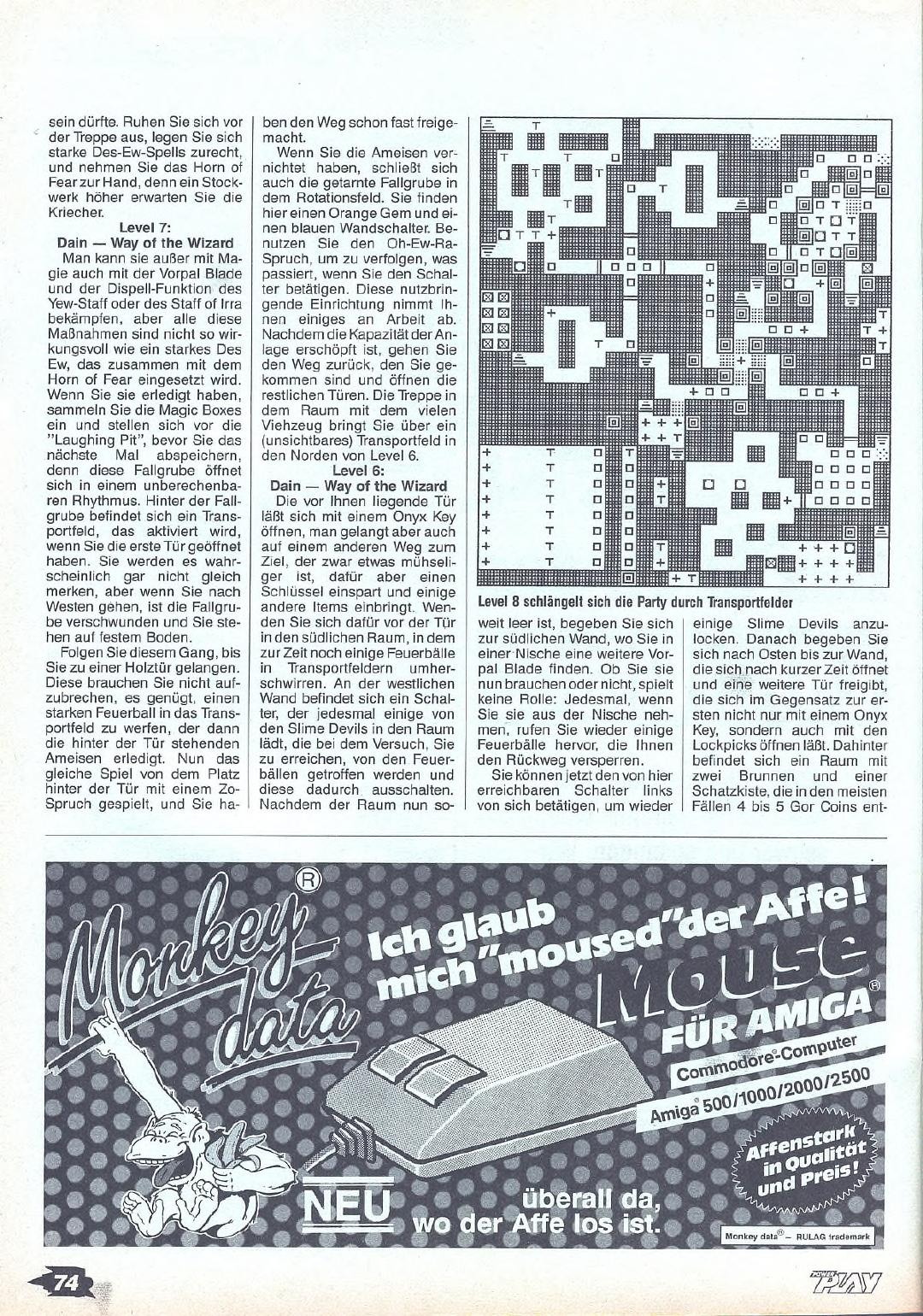 Chaos Strikes Back Guide published in German magazine 'Power Play', May 1990, Page 74