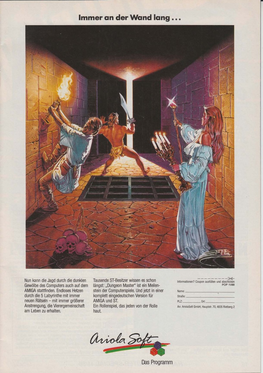 Dungeon Master Advertisement published in German magazine 'Power Play', November 1988, Page 17