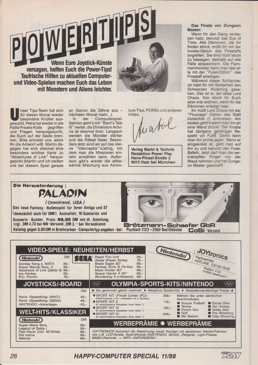 Dungeon Master Hints published in German magazine 'Power Play', November 1988, Page 26