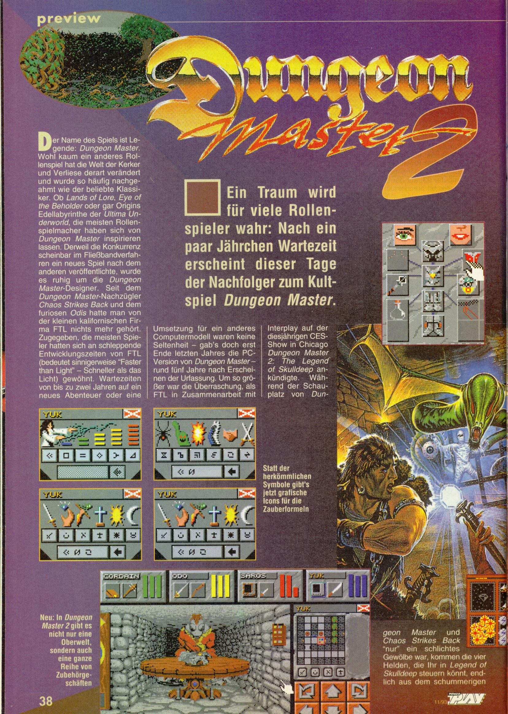 Dungeon Master II Preview published in German magazine 'Power Play', November 1993, Page 38