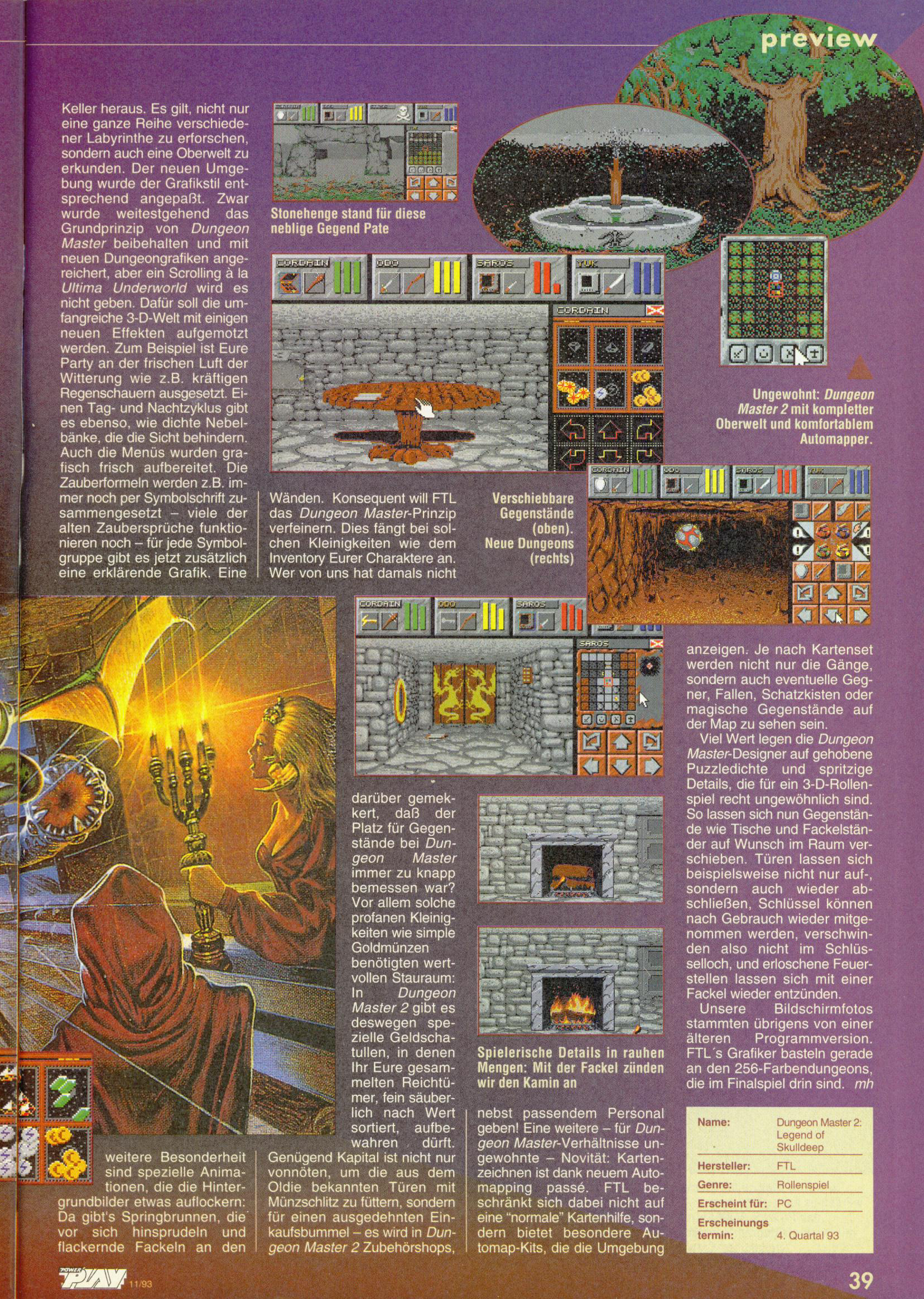 Dungeon Master II Preview published in German magazine 'Power Play', November 1993, Page 39