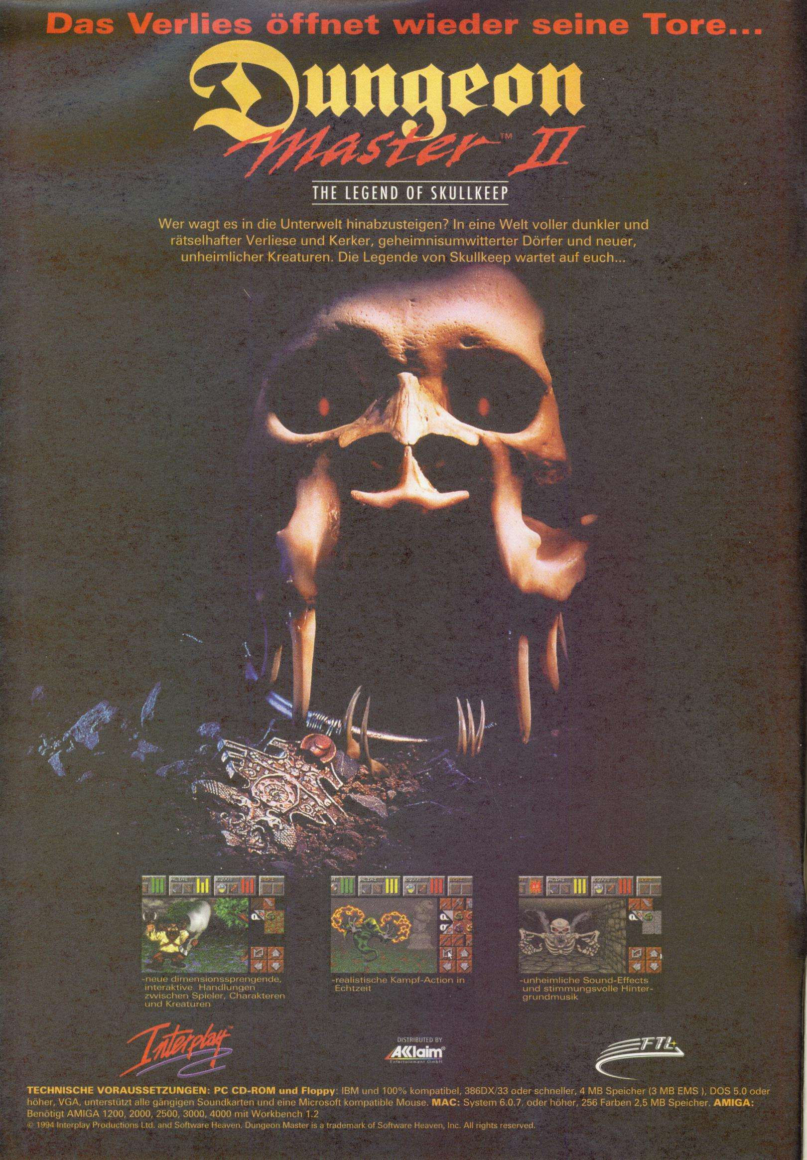Dungeon Master II for Amiga Advertisement published in German magazine 'Power Play', September 1995, Page 4