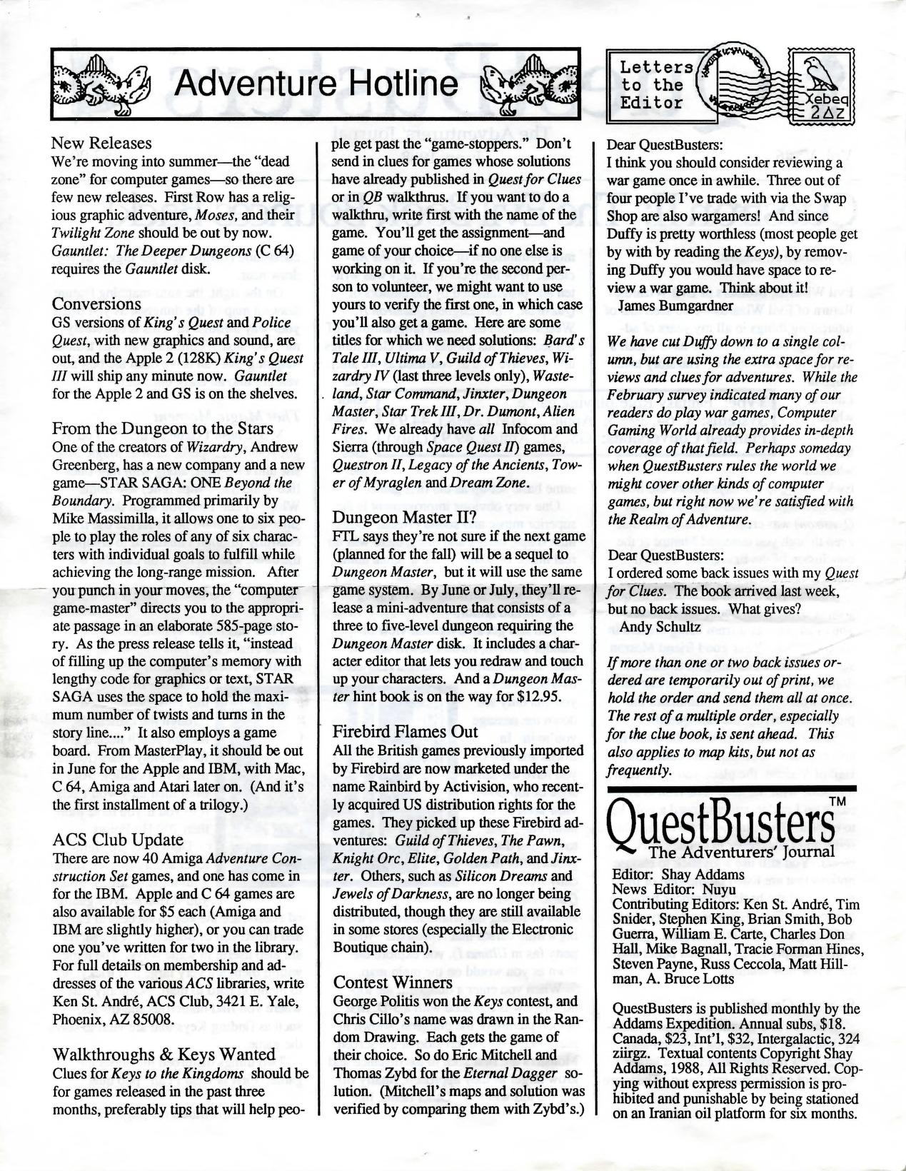 Dungeon Master News published in American magazine 'QuestBusters', Vol 5 No 6 June 1988, Page 2