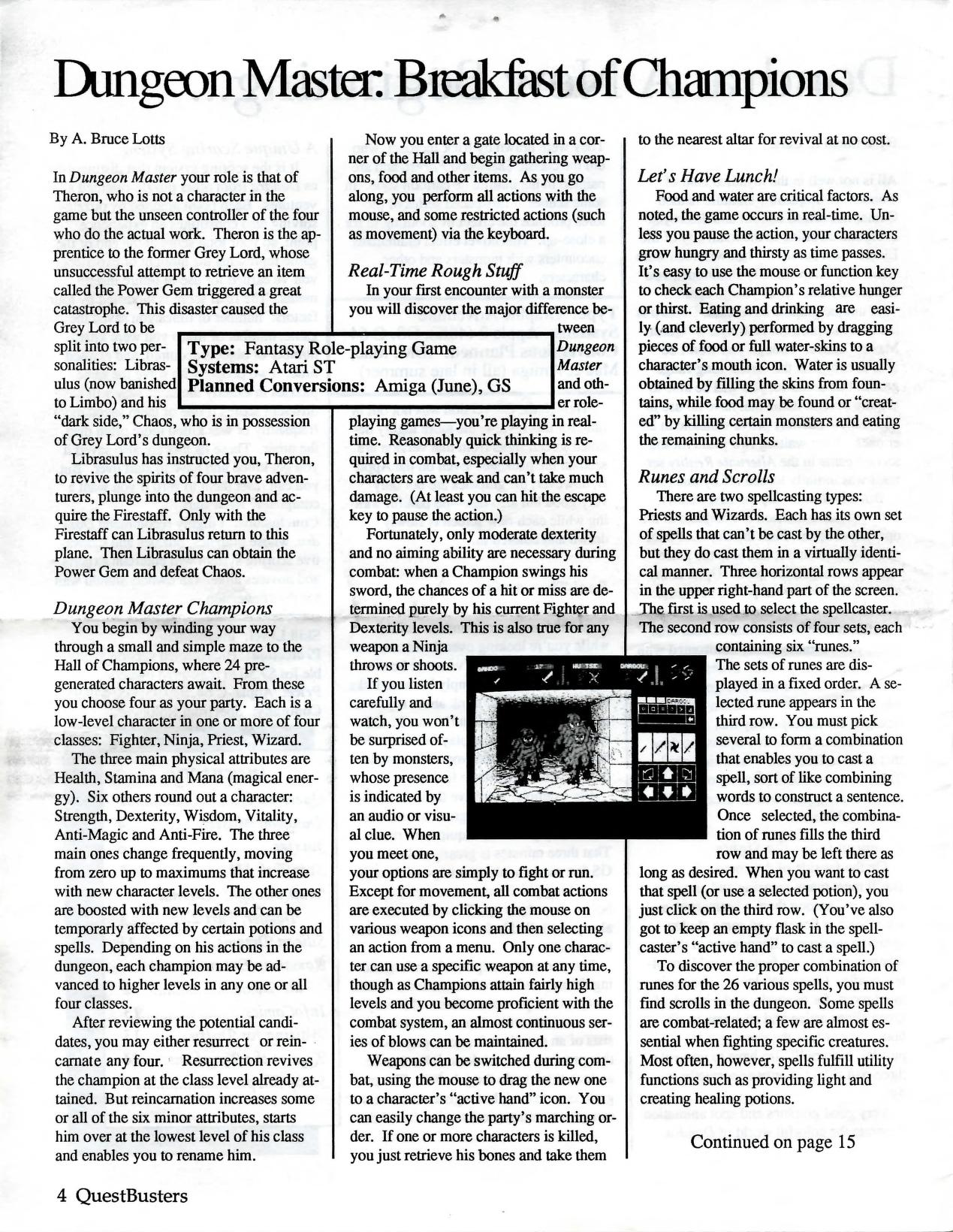 Dungeon Master for Atari ST Review published in American magazine 'QuestBusters', Vol 5 No 6 June 1988, Page 4