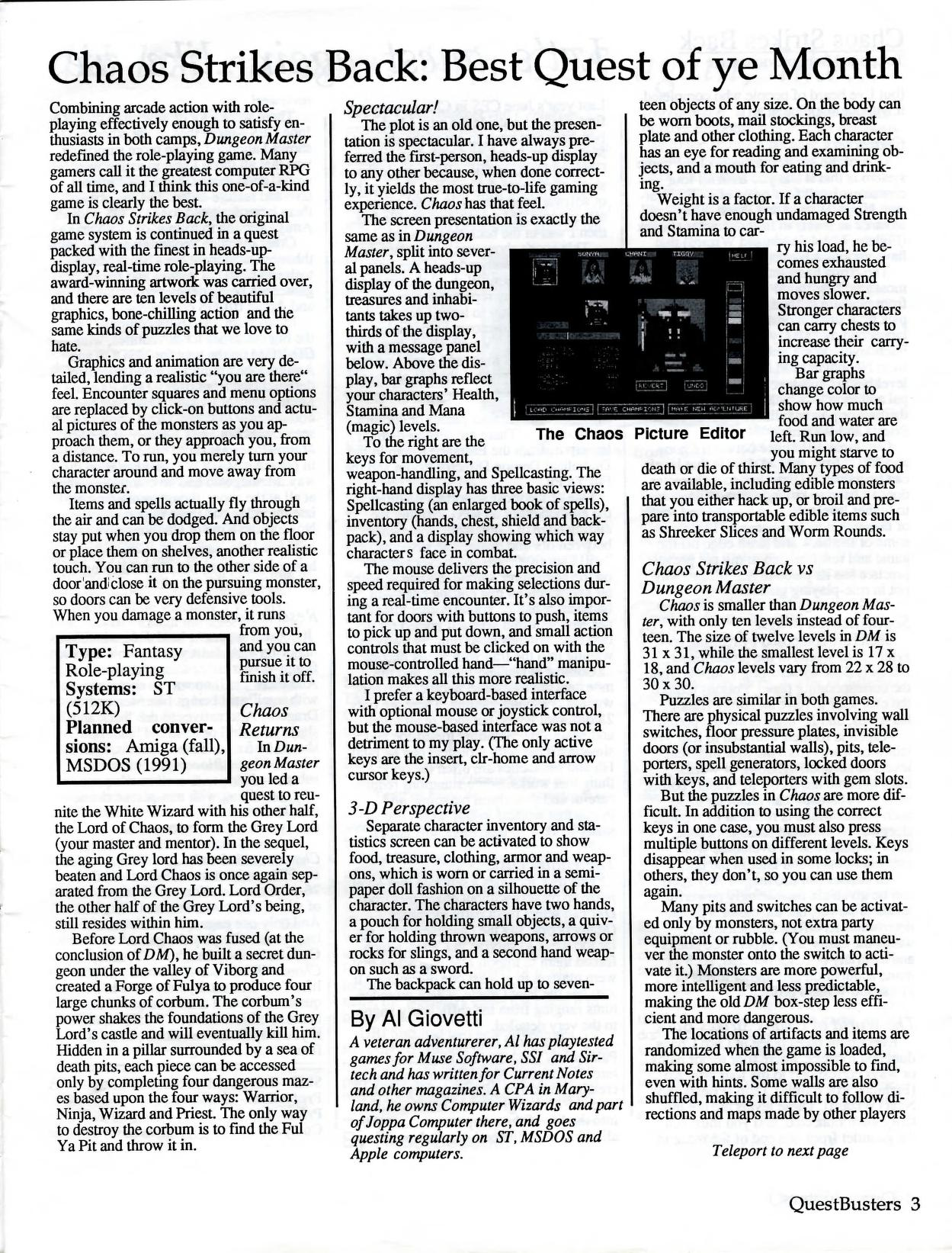 Chaos Strikes Back for Atari ST Review published in American magazine 'QuestBusters', Vol 7 No 8 August 1990, Page 3
