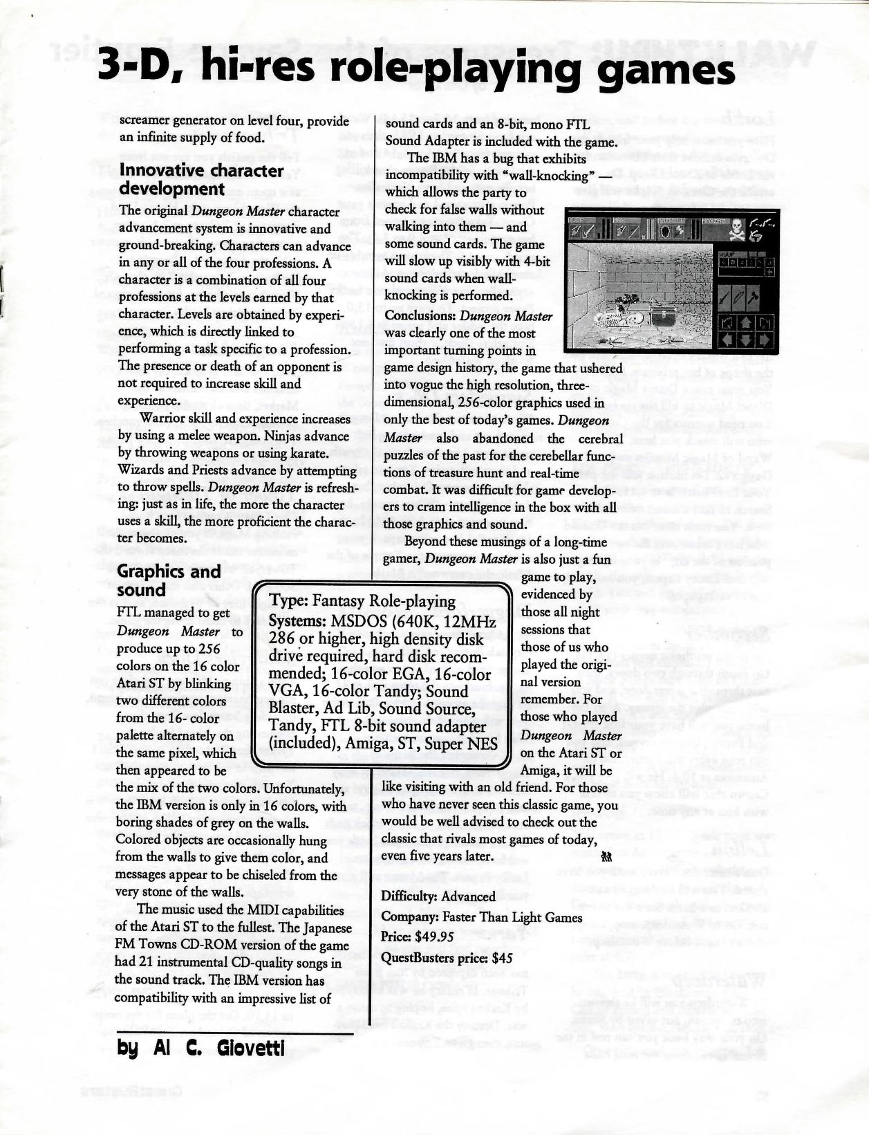 Dungeon Master for PC Review published in American magazine 'QuestBusters', Vol 9 No 12 December 1992, Page 9