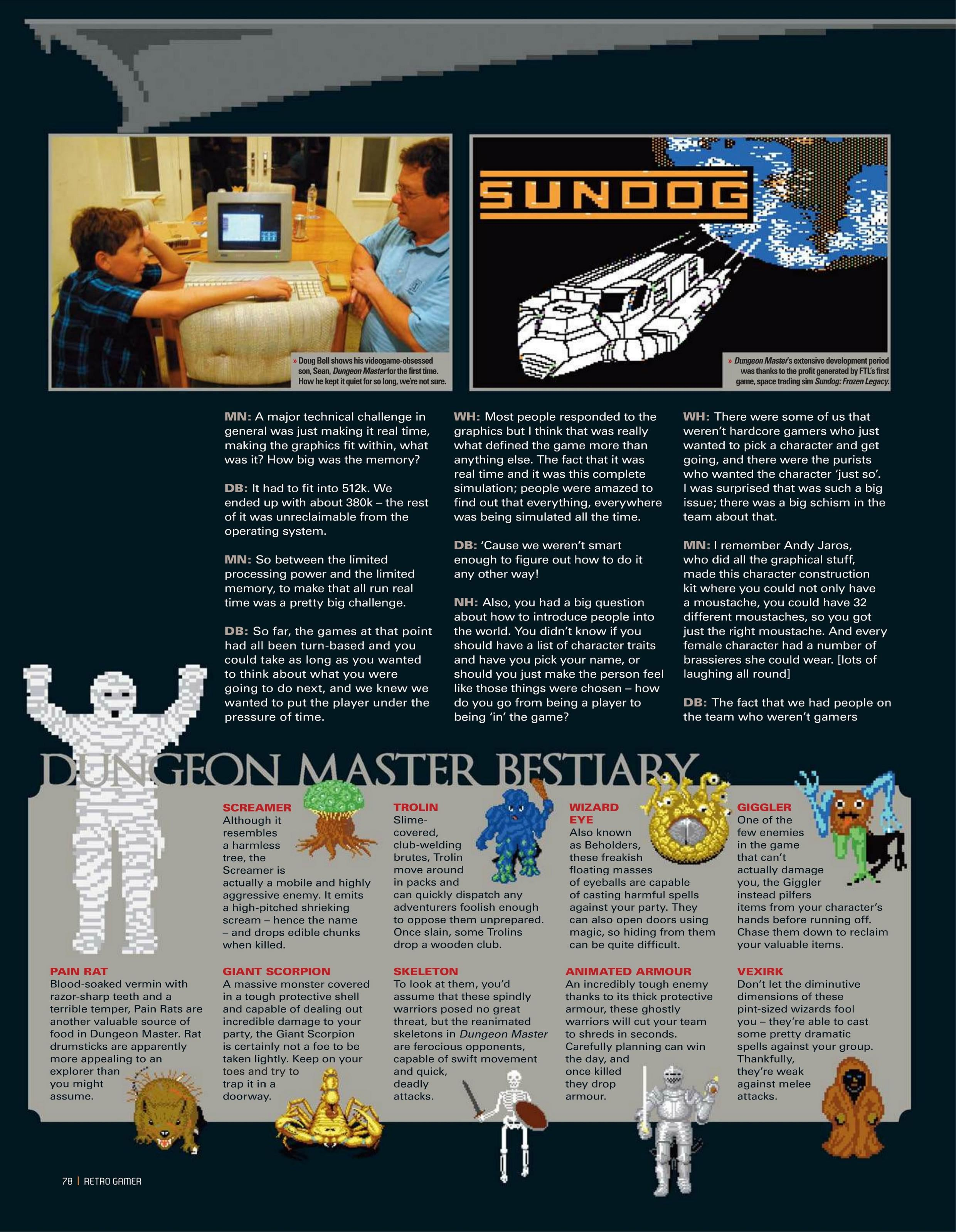 Dungeon Master Game Series Article published in British magazine 'Retro Gamer', Issue #105 July 2012, Page 78